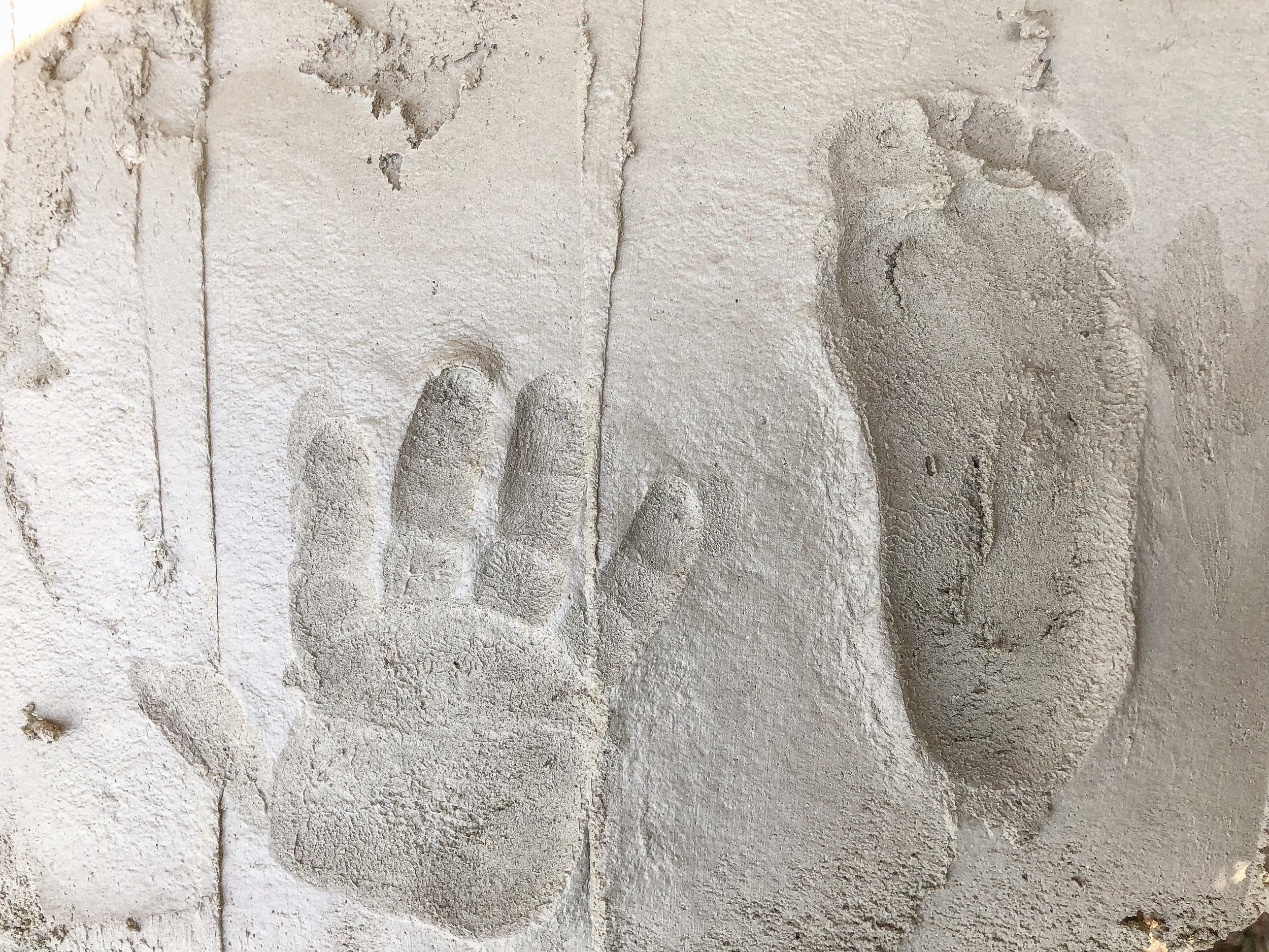 Dominic's hand and foot prints