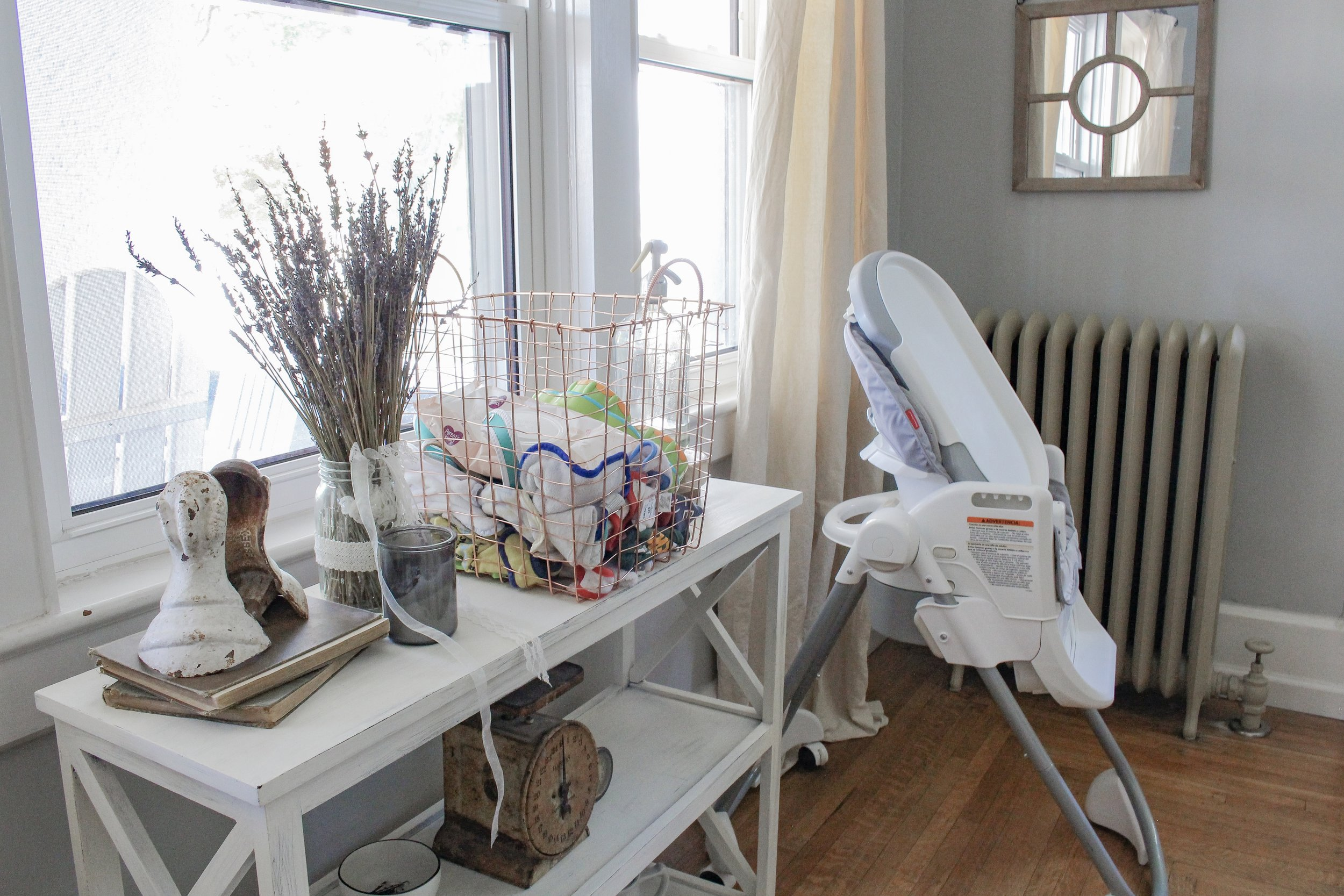 High chair and toys organized