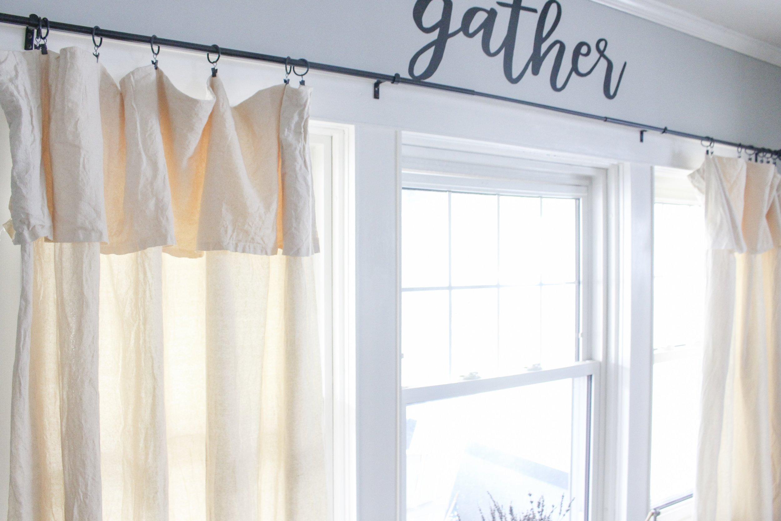 Top of Drop Cloth Curtains