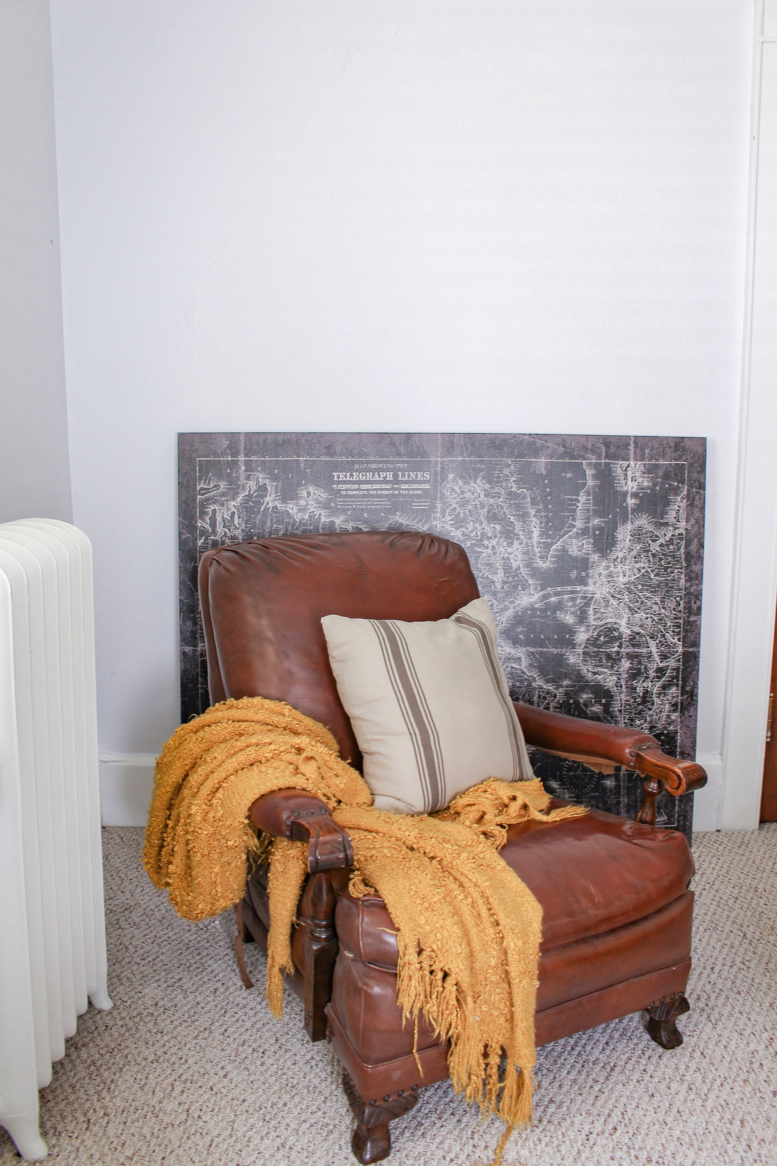 Leather chair in guest room