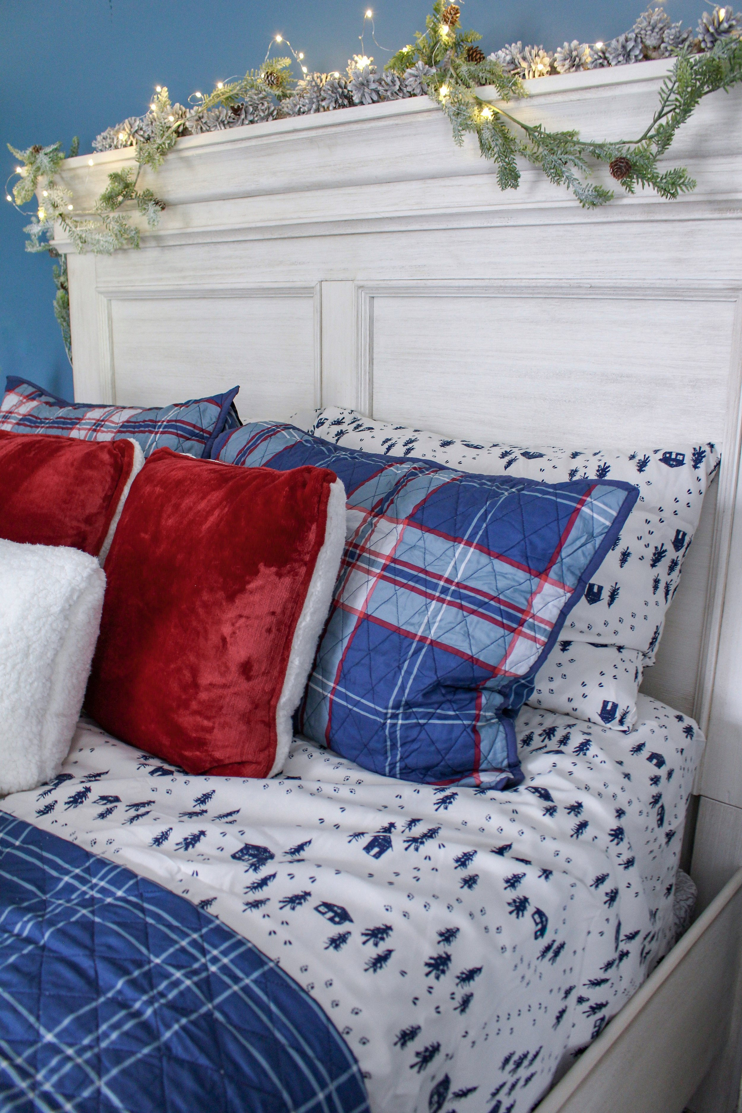 Holiday sheets in guest room