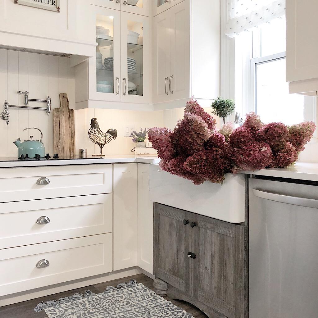 Designs by Karan dried hydrangeas in sink