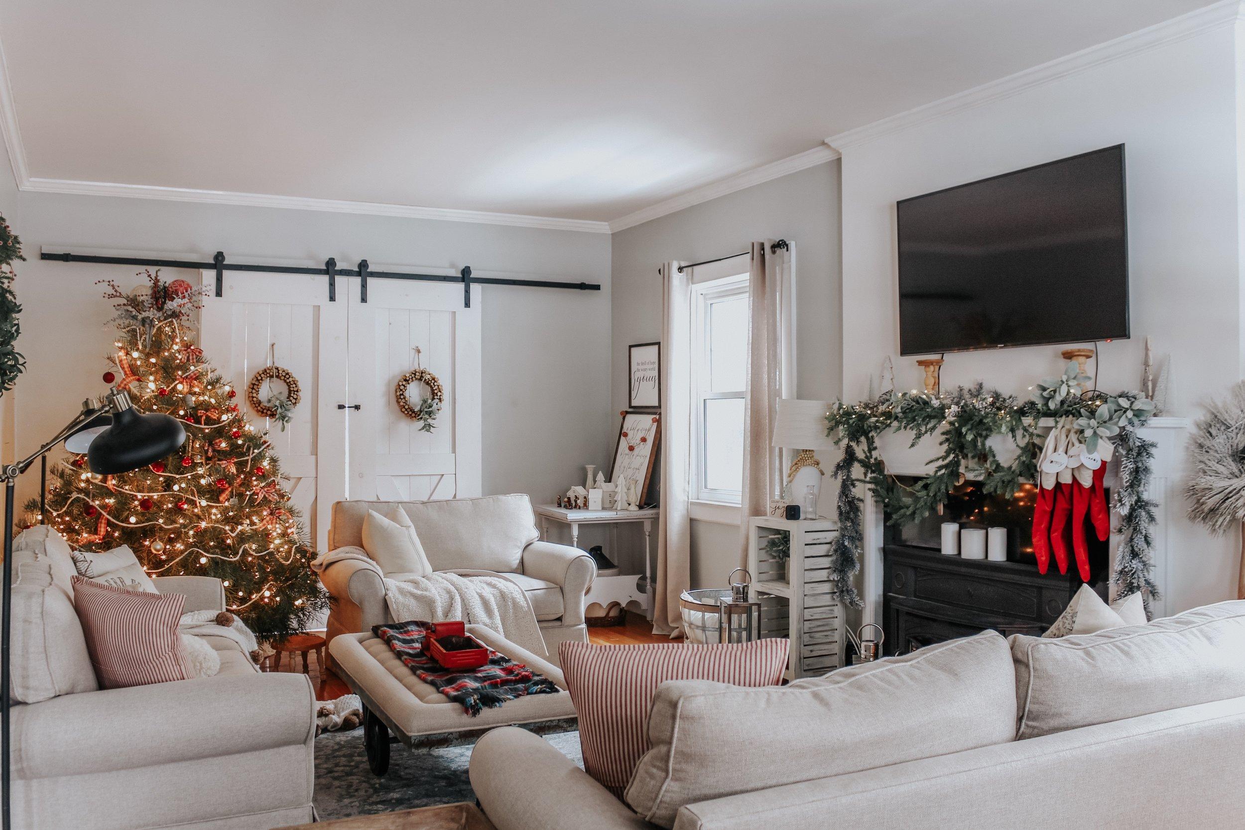Christmas Fireplace and living room