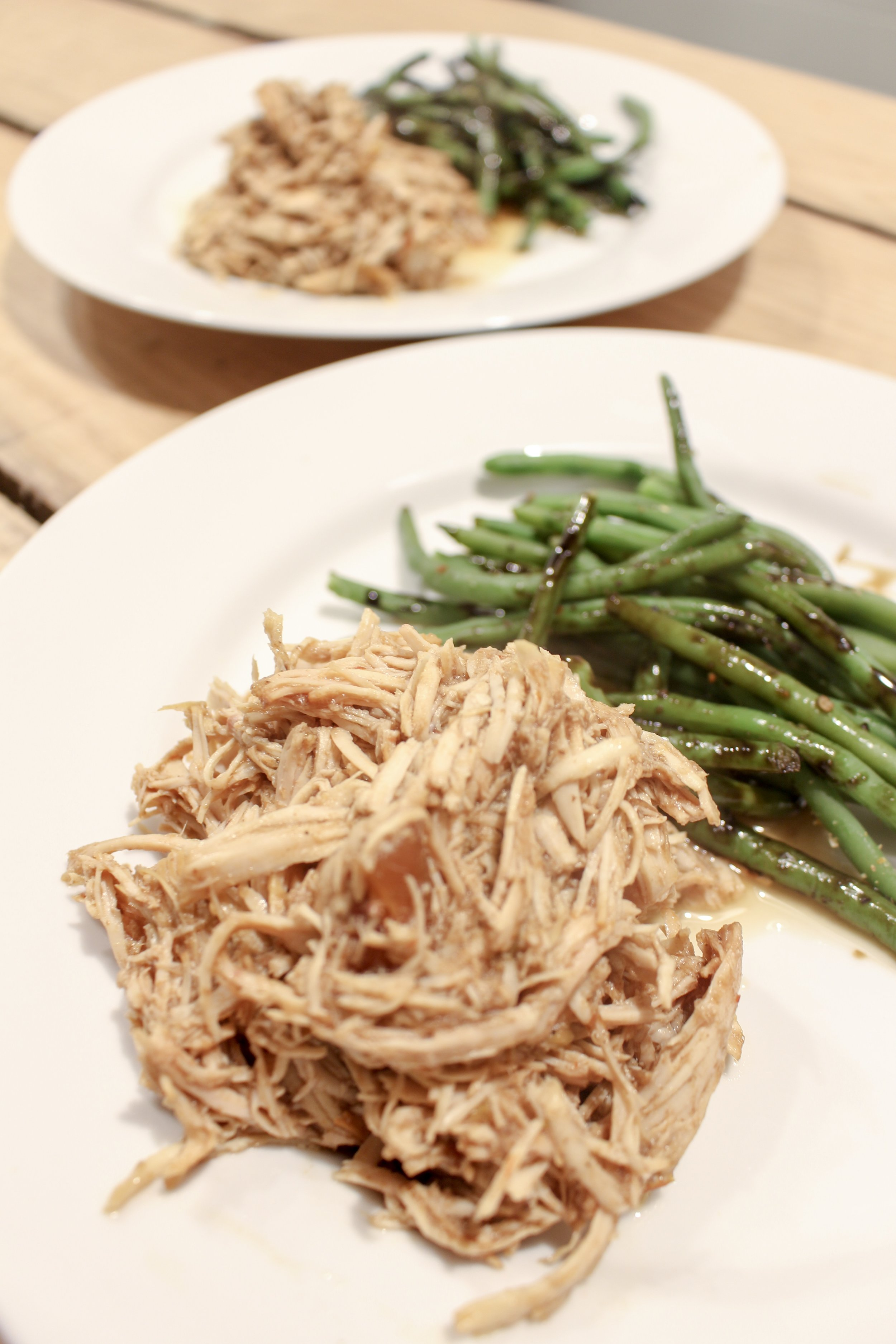 Pulled chicken and green beans