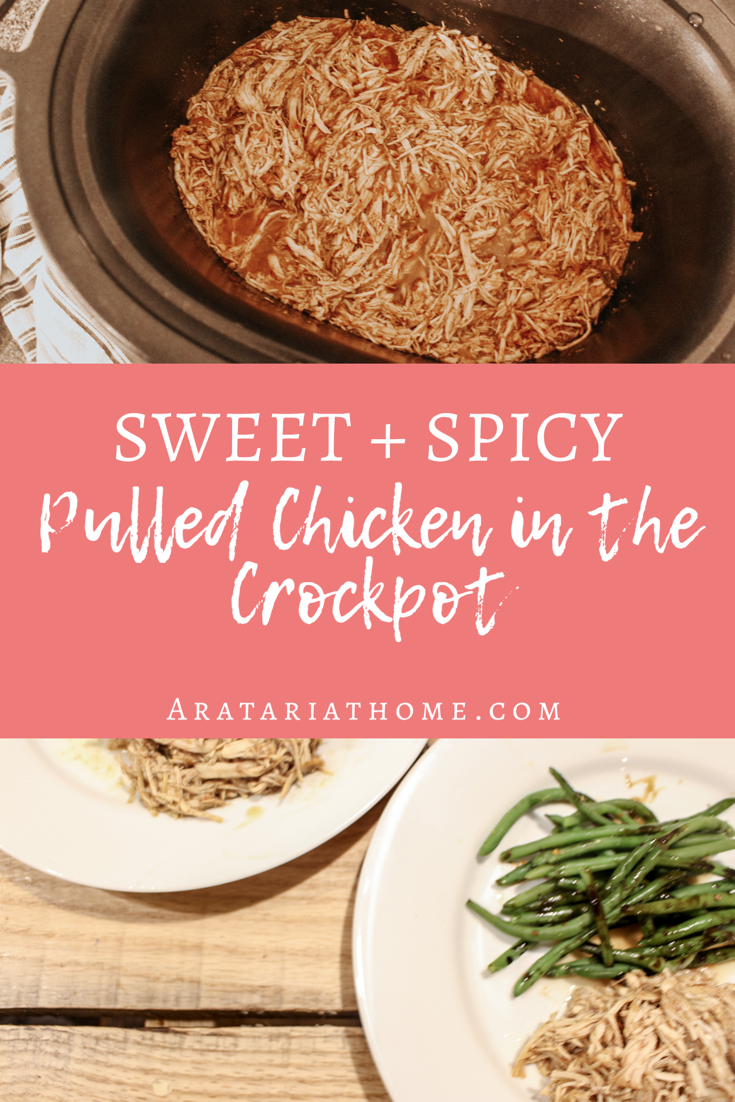 Sweet and Spicy Pulled Chicken in the Crockpot