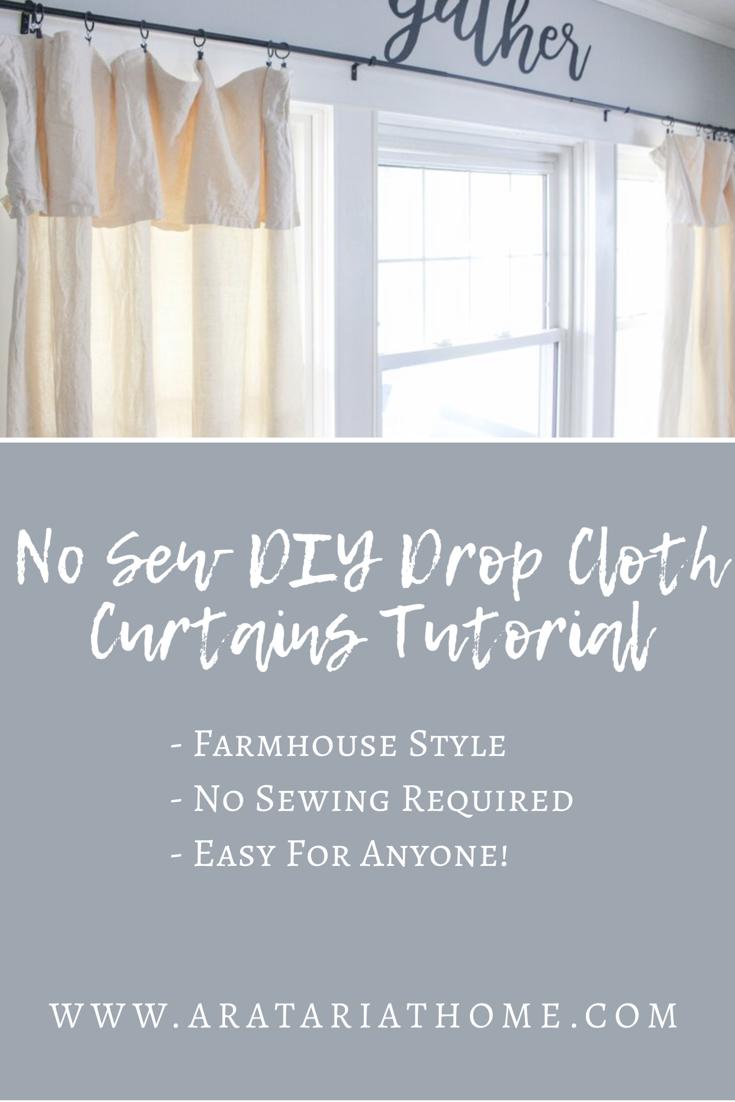 No Sew DIY Drop Cloth Curtains