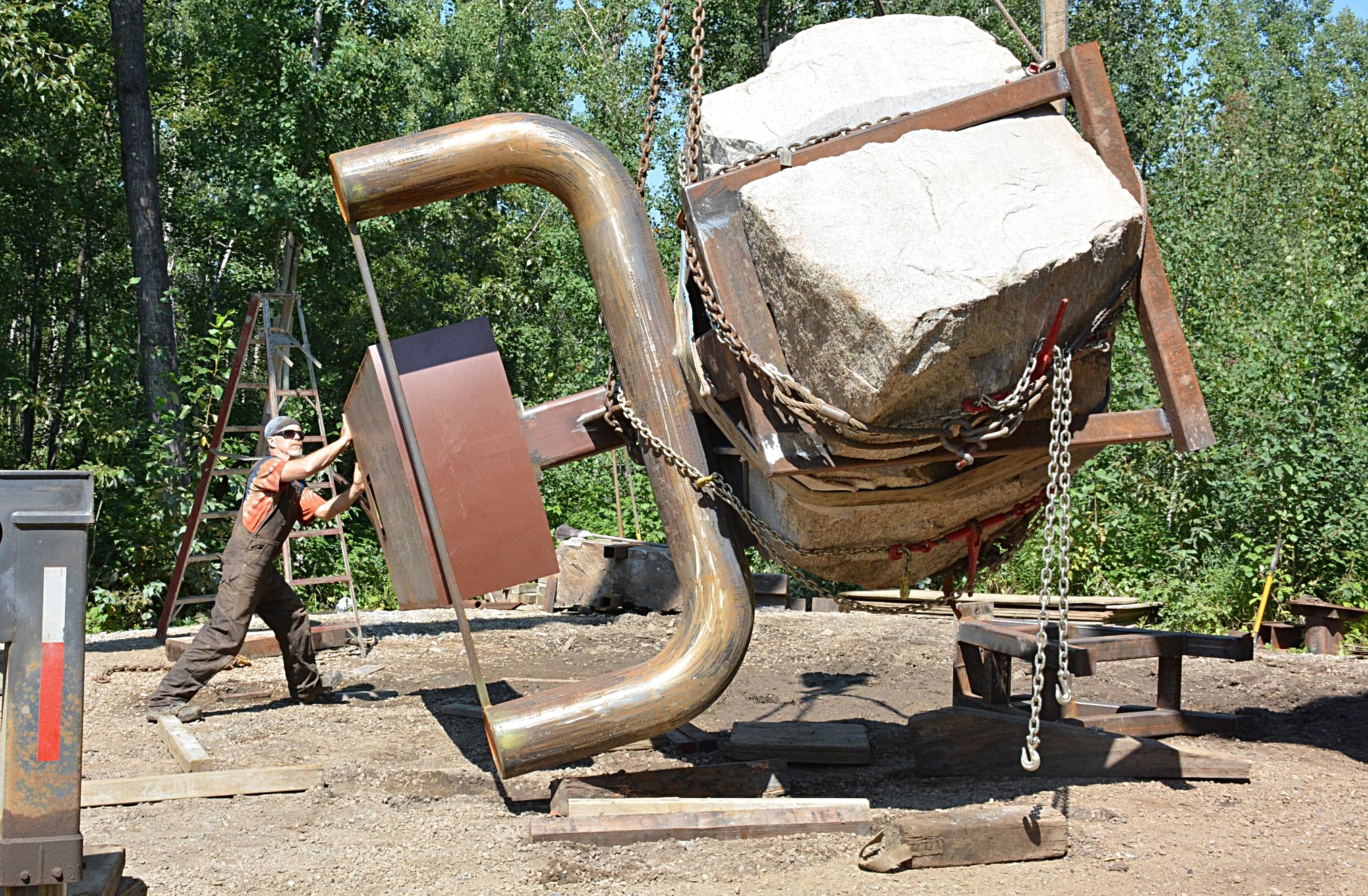 """Royden Mills: Typically Over Achieving: """"Potential"""" one of Three Sculpture sites spread over 1/4 Mile in Terwillegar Park, Edmonton Alberta Canada Sept 2017"""
