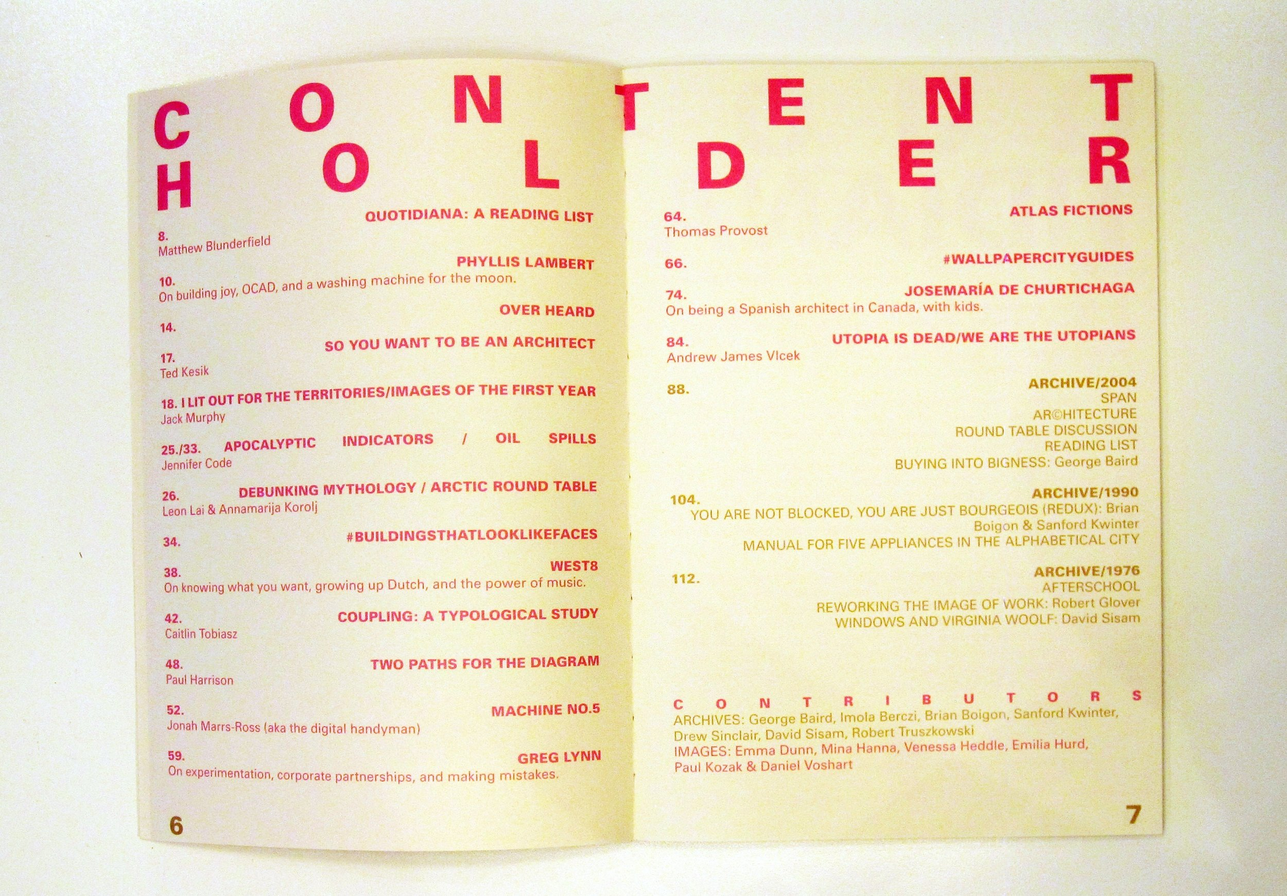 Table of Contents for Issue 1/2 of PLACE-HOLDER. Courtesy  PLACE-HOLDER .