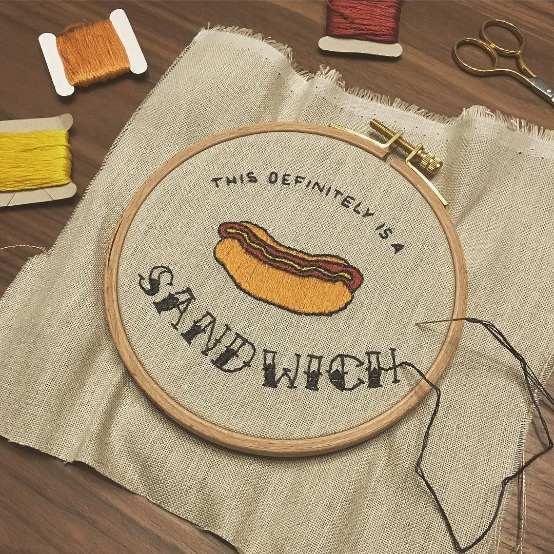 I decided I wanted to try embroidery. My first practice project is dedicated to @eblairs and @timyhahn. #hotdog #sandwich #embroidery #newhobbywhodis.jpg