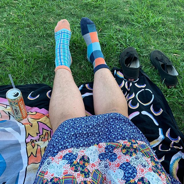 "Love a good #pattern moment in the park 🌈 Our manager @raine__raine in @vans, #90s crop top and a #vintage #handmade smock from @civviesonbroughton 🎀 flower #pin from @pintrill & ""thou shalt not hassle"" #button from an #antique market in Kentucky 📡"