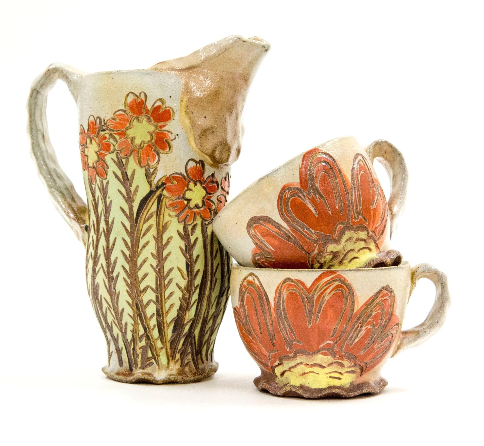 Cacti Set, Brown Stoneware, Δ6 Reduction Salt-Fired, 2017