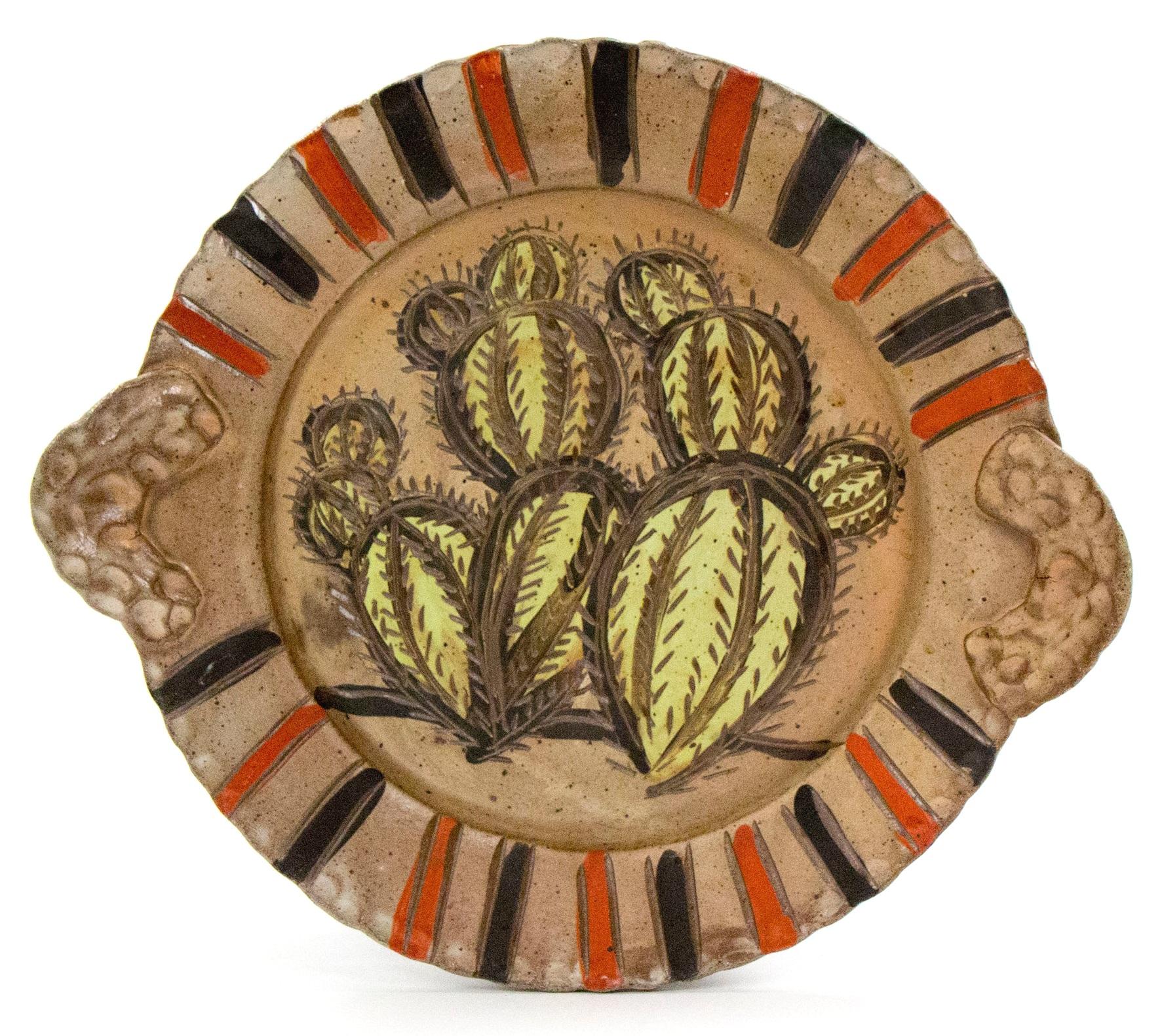 Cactus Platter, Brown Stoneware, Δ6 Reduction Salt-Fired, 2017