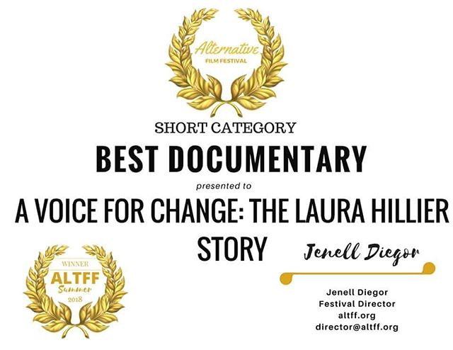"Exciting news! ""A Voice For Change"" won best short doc at the Alternative Film Festival in Toronto! Congratulations to the whole team! Mor e exciting news to come!"