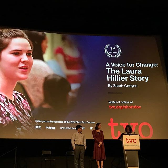 What an amazing night. Not only did @thelaurahillierstory.doc take home 1st place prize in the TVO short doc contest, but we were also fortunate enough to receive people's choice award!  Thank you so much @tvodocs for the incredible opportunity  And thank you so much for everyones support ans and voting!