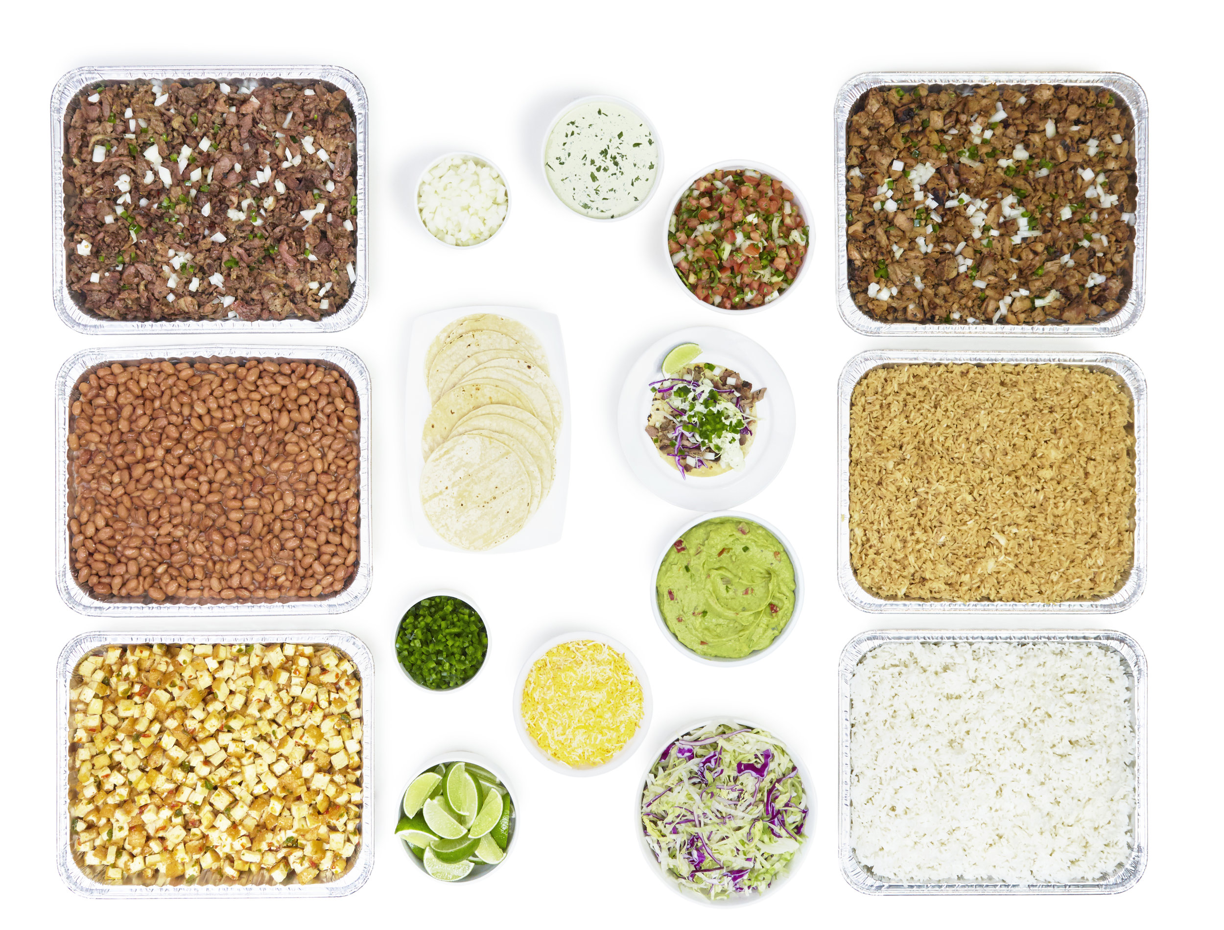 FOR PARTIES OF 20 OR MORE - Choice of up to 3 proteins: Pork sisig, chicken sisig, pork tocino (GF) or tofu sisig (GF).Also served with:• Steamed rice• Adobo garlic rice• Pinto Beans• Warm corn tortillas• Lettuce• Pico de gallo• Cilantro cream sauce• Fresh diced onions & jalapeños• Limes• Guacamole (optional)• Shredded or nacho cheese (optional)
