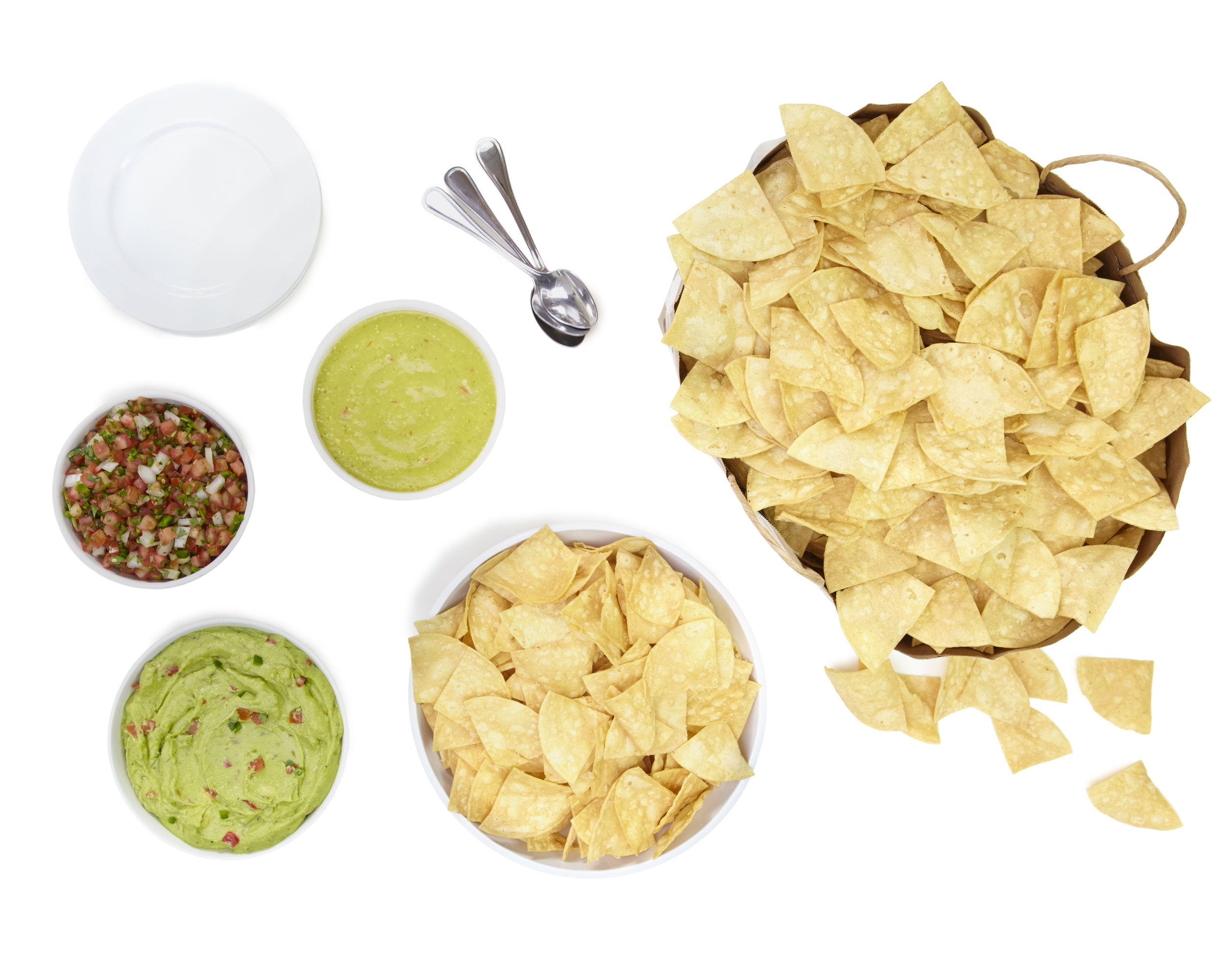 Good for 10 people - Tortilla chips, pico de gallo, and our house salsa, add guacamole if you like.