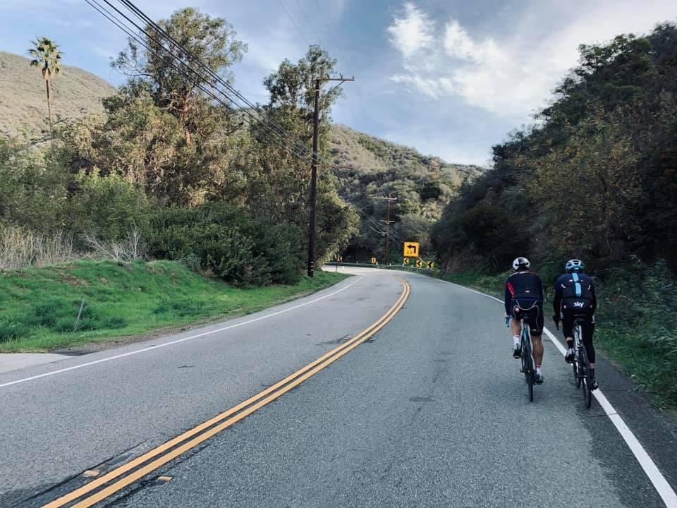 Casual training: Cameron Wurf and Geraint Thomas heading up Topanga Canyon.