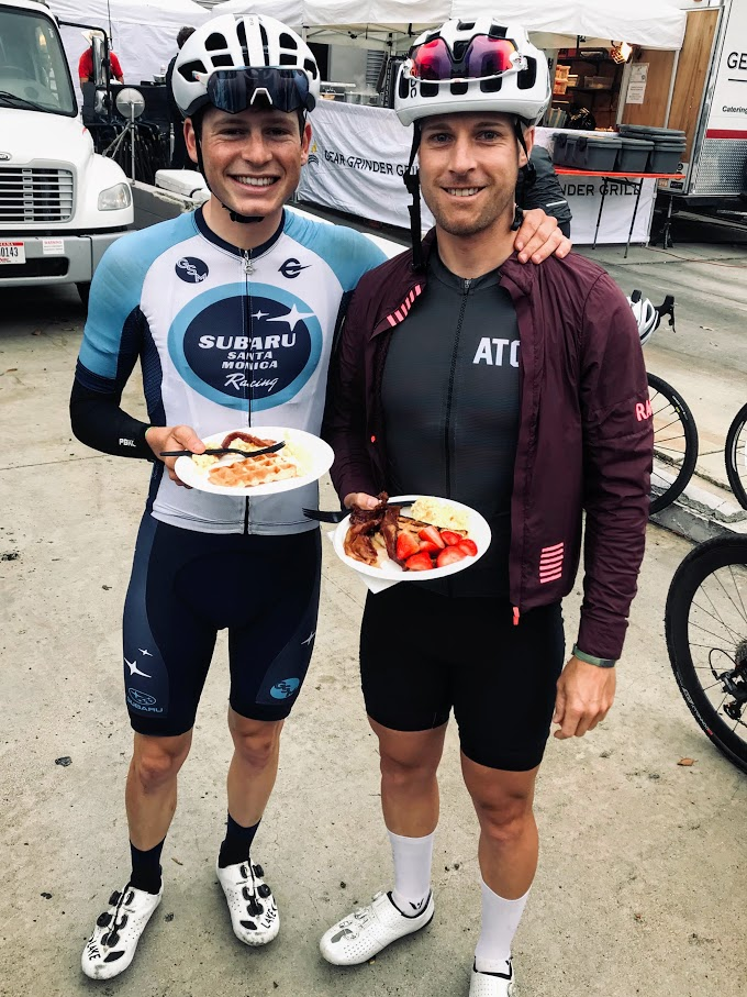 Waffles for breakfast with Drew. This would be the last time I saw him all day (he placed 25th overall).