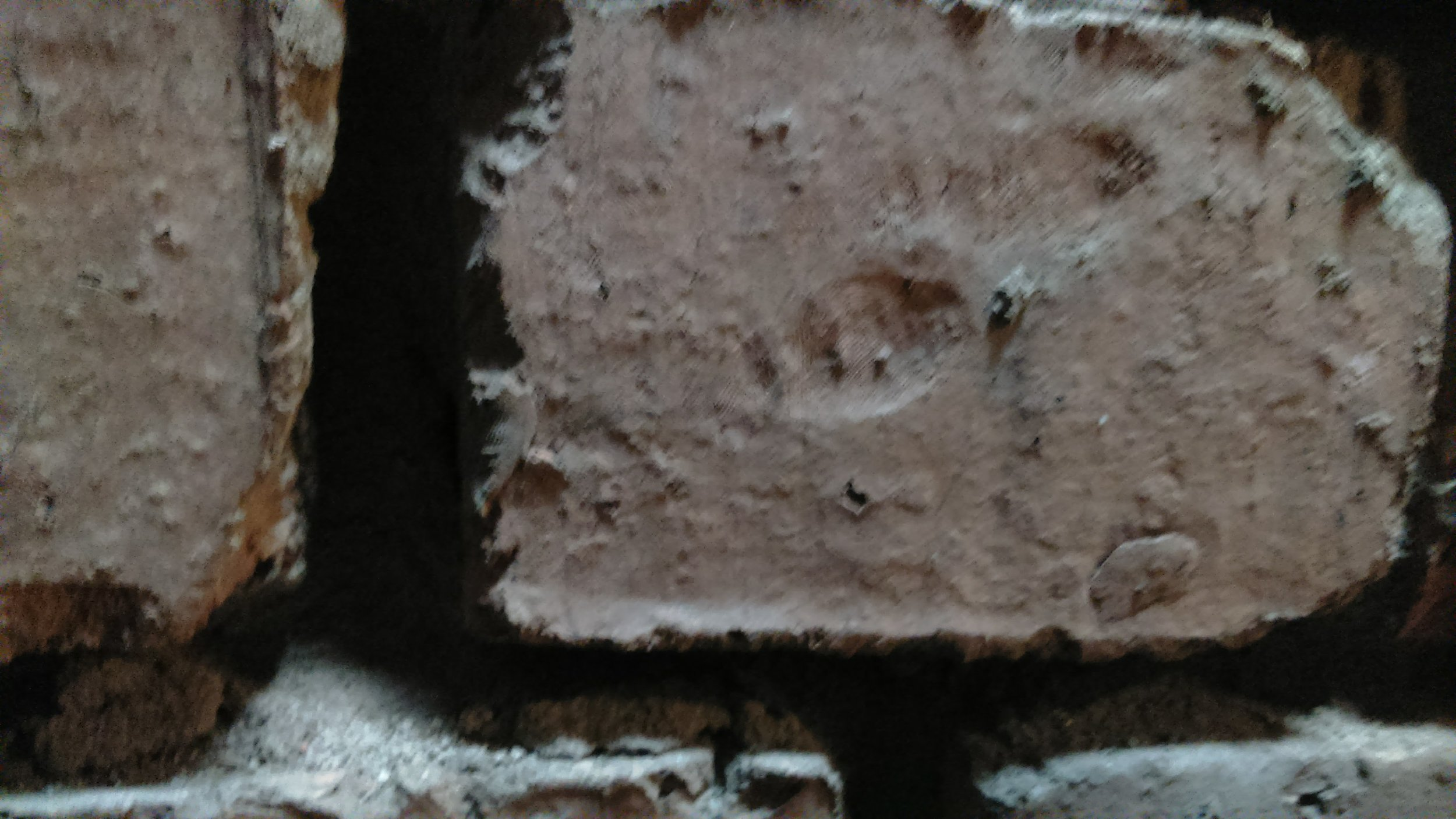 Not a great photo but the church is built of hand made bricks and that's somebody's finger print!