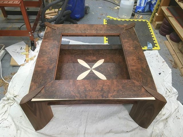 First coat of oil on the #coffeetable today. Really happy with how the #walnut contrasts with the #sycamore #woodwork #cabinetmaker #handtools #finefurniture #cabinetmaking #furnituredesign #woodshop #furnituremaker #finewoodworking #handcraft #woodcraft #woodart #workshop #craft #craftmanship #bestIGwoodworking #dowoodworking #woodworkingskills #woodlovers #handmade #bespoke