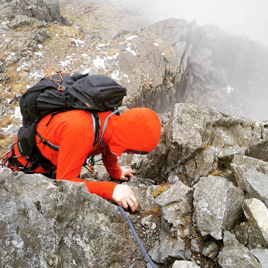 April mixed month on the move; I came back briefly from Africa to rock climb in the sun in Snowdonia and to go back to Scotland to ski before flying off to Nepal. - Scrambling on Tryfan
