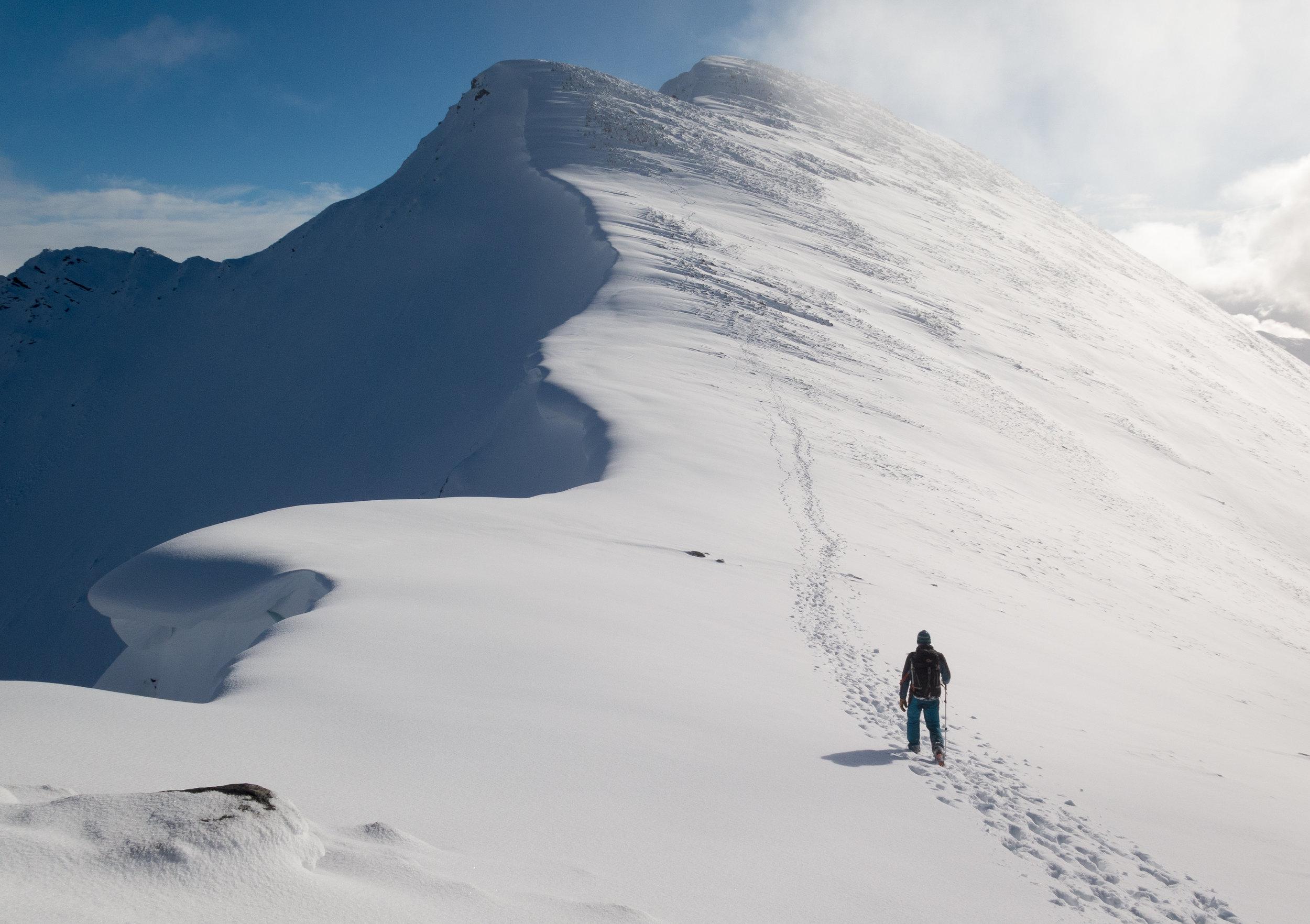 The North Ridge of Stob Ban under heavy snow. Photo credit: Rory Shaw, Snowdonia Mountaineering