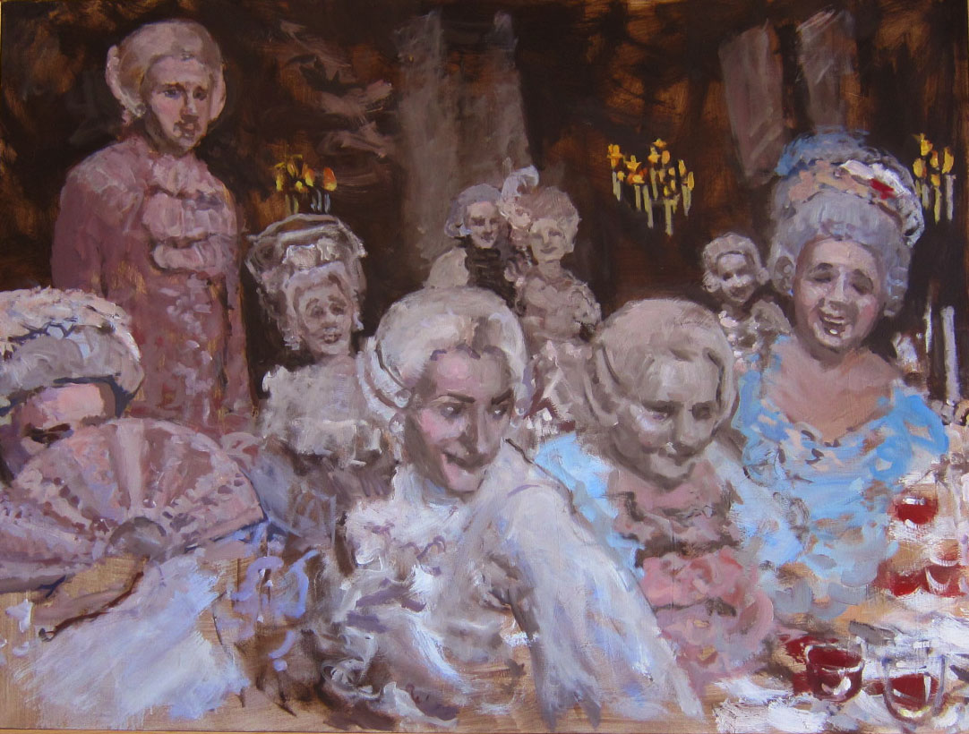 rococo masquerade - This series of paintings has to do with spectacle, reality versus illusion and masquerade.  A mood of a long gone era that haunts us to this day with its air of decadence and ennui, characterized by elegant, refined, yet playful subject matter.