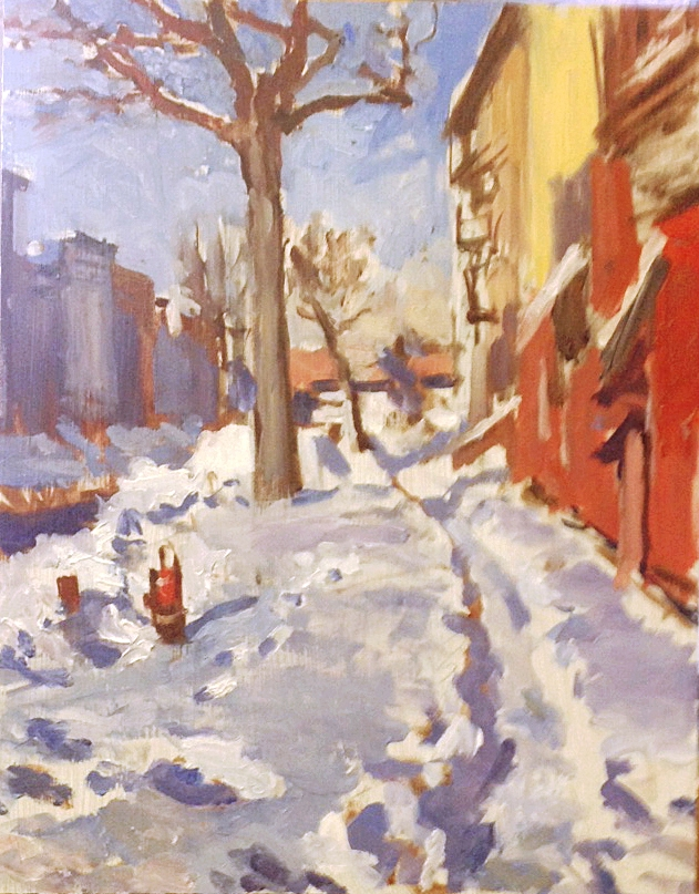 cityscapes - I began painting cityscapes when I moved to New York. There is a special kind of beauty in capturing the mood of unadorned, urban neighborhoods with their angular, jagged lines and man made structures.
