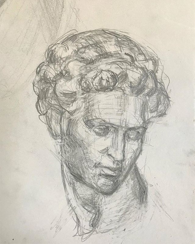 Back to basics. Drawing from a little plaster cast I got of Michelangelo's Giuliano Medici. #boristyomkin #academicart #academicdrawing #portraitdrawing #portraitartist #portraitart #castdrawing #michelangelo #medici #pencilsketch #graphitedrawing #medicichapel