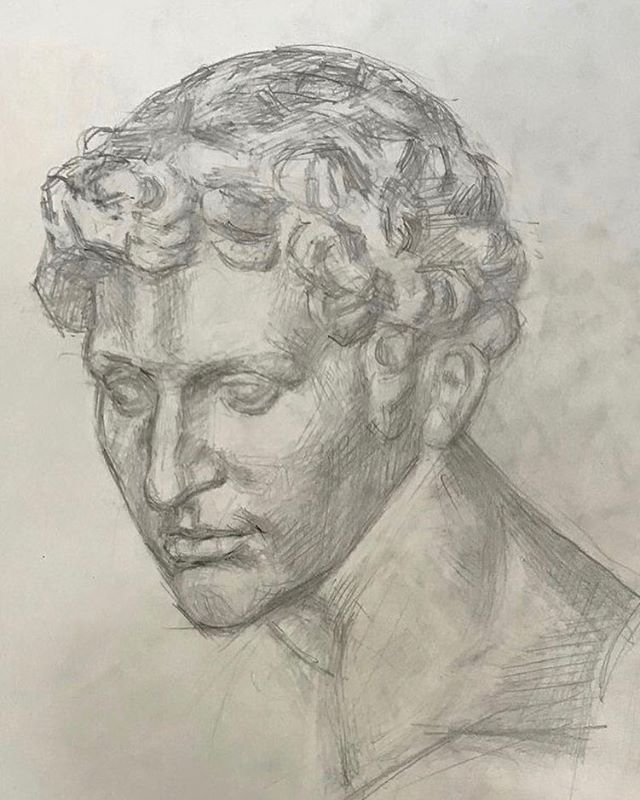 Another view of Giuliano Medici by Michelangelo. #boristyomkin #castdrawing #academicart #academicdrawing #plastercast #michelangelo #michelangelobuonarroti #giulianomedici #medici #medicichapel #pencilsketch #pencildrawing #graphiteart #graphitesketch #graphitedrawing #classicalart