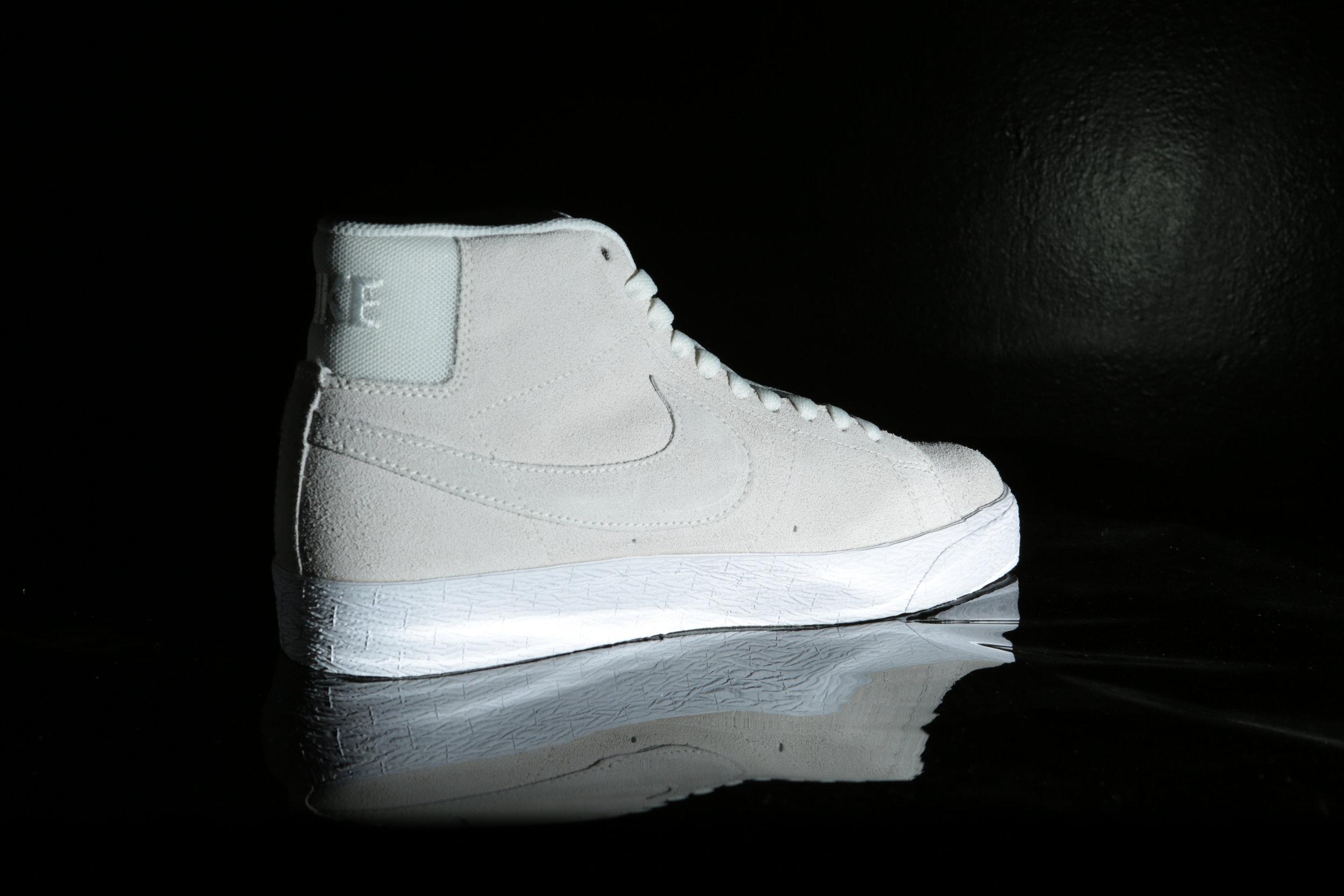 White Nike SB Zoom Blazer Mid Deconstructed