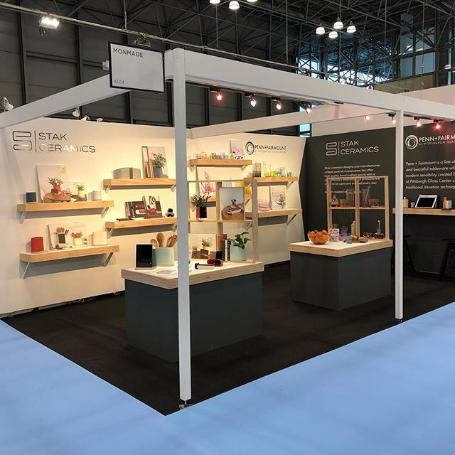 Booth 4014 is all set at @ny_now.  New Penn+Fairmount glass by myself/@pghglasscenter and beautiful ceramics by @stak_ceramics .  A shoutout to @monmadepgh for all the support.  #nynow #glassblowing #nynow2019 #pghcreative #monmade #newatnynow #sweepstakes