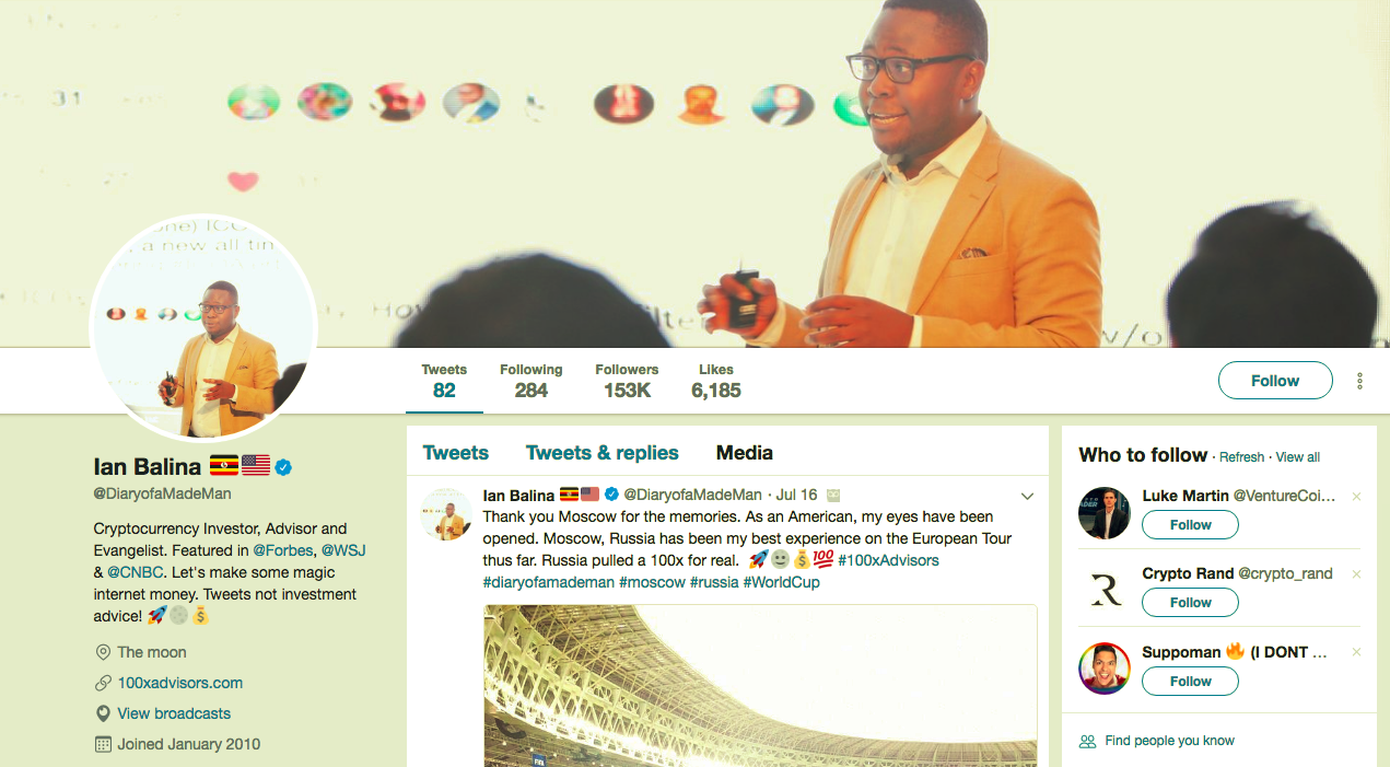 With over 153k Twitter fans, Ian Balina is considered one of the most popular crypto-influencers