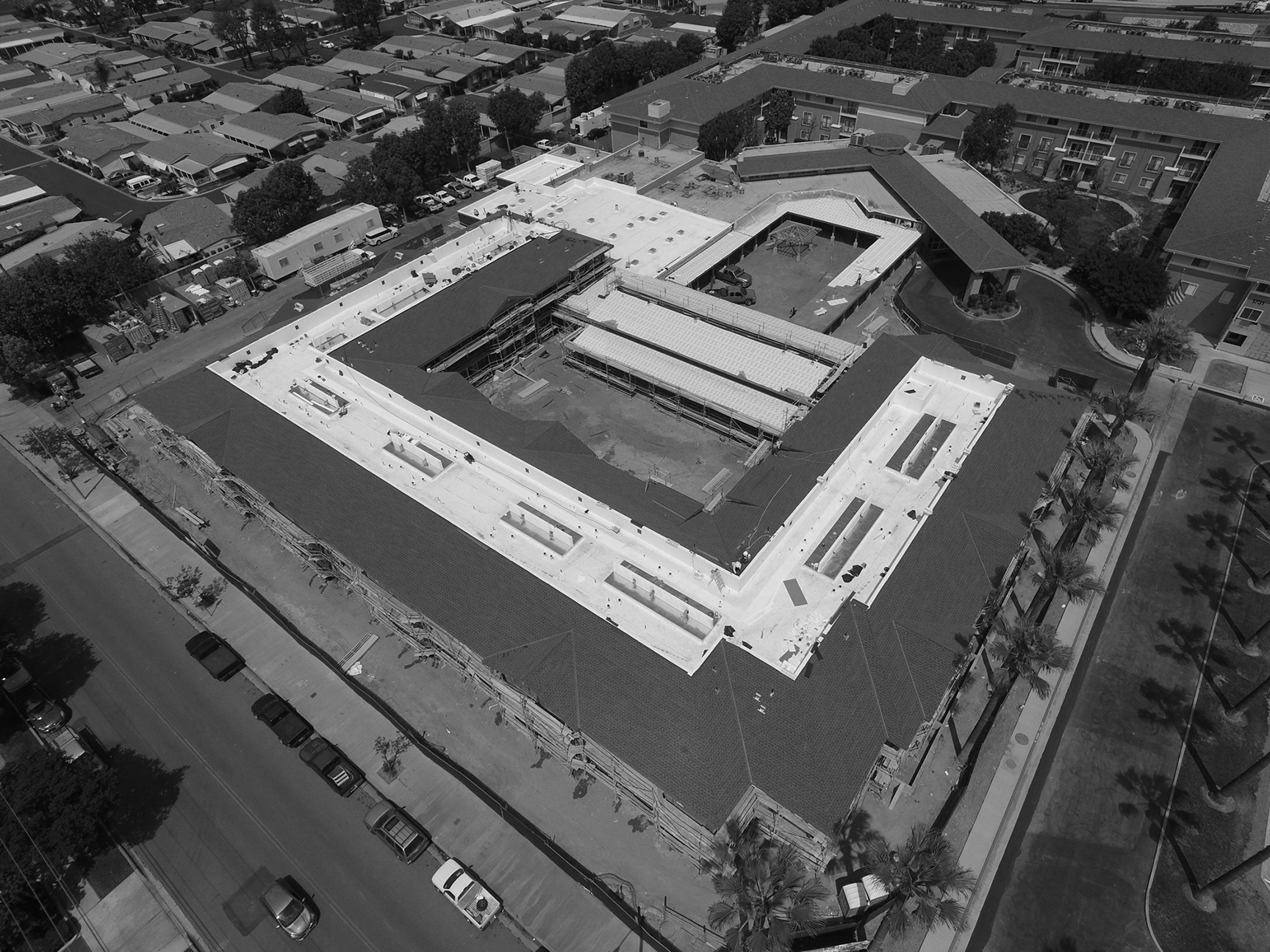 - Birdseye view of construction in progress. The senior living facility expansion project takes shape