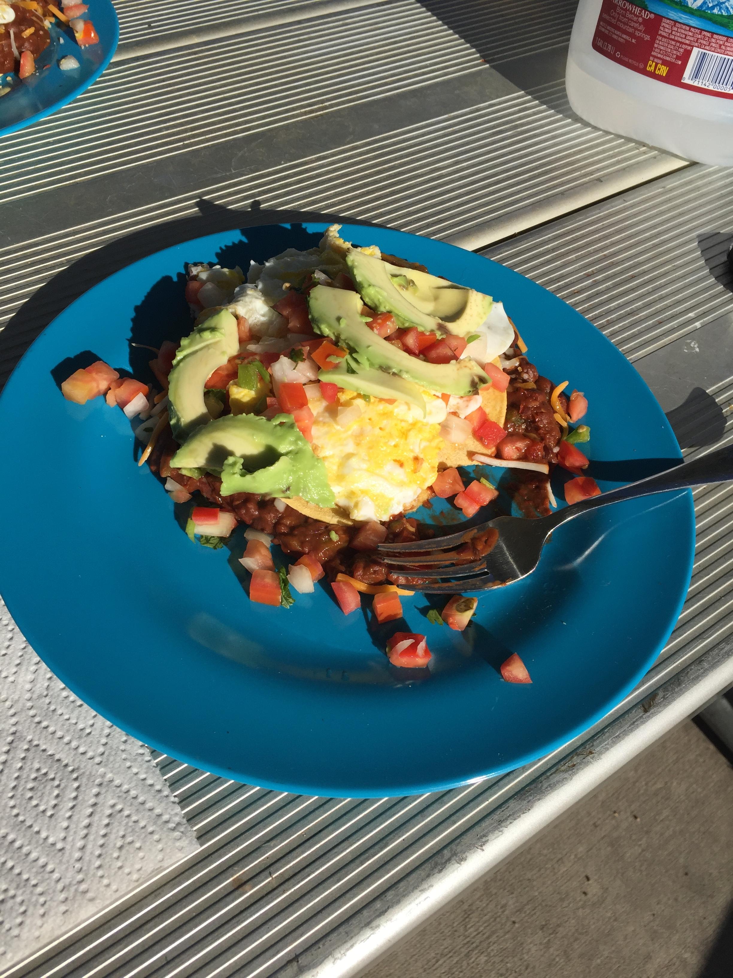 Huevos Rancheros camping style.
