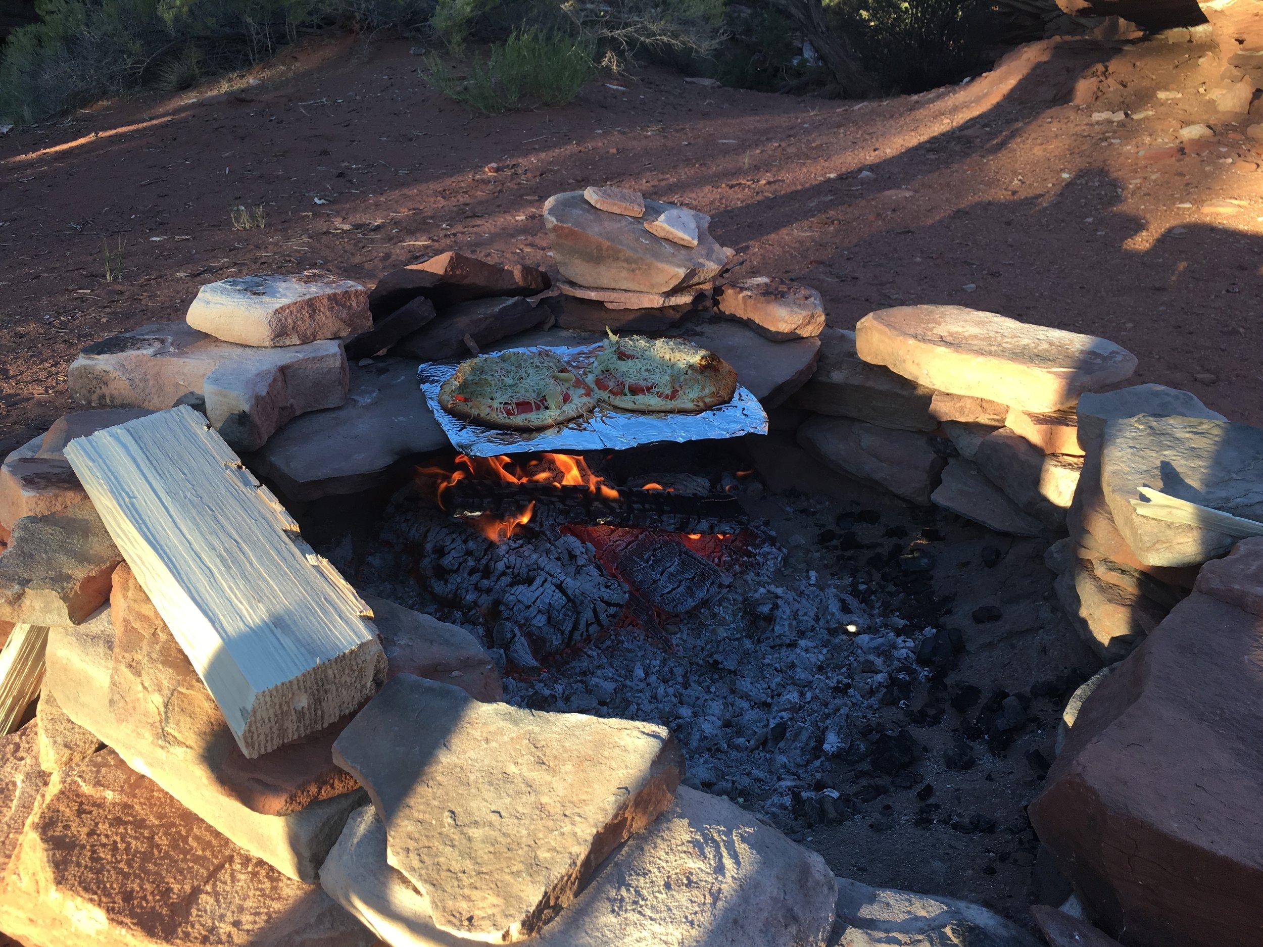 Campfire pizza... brick oven yummy