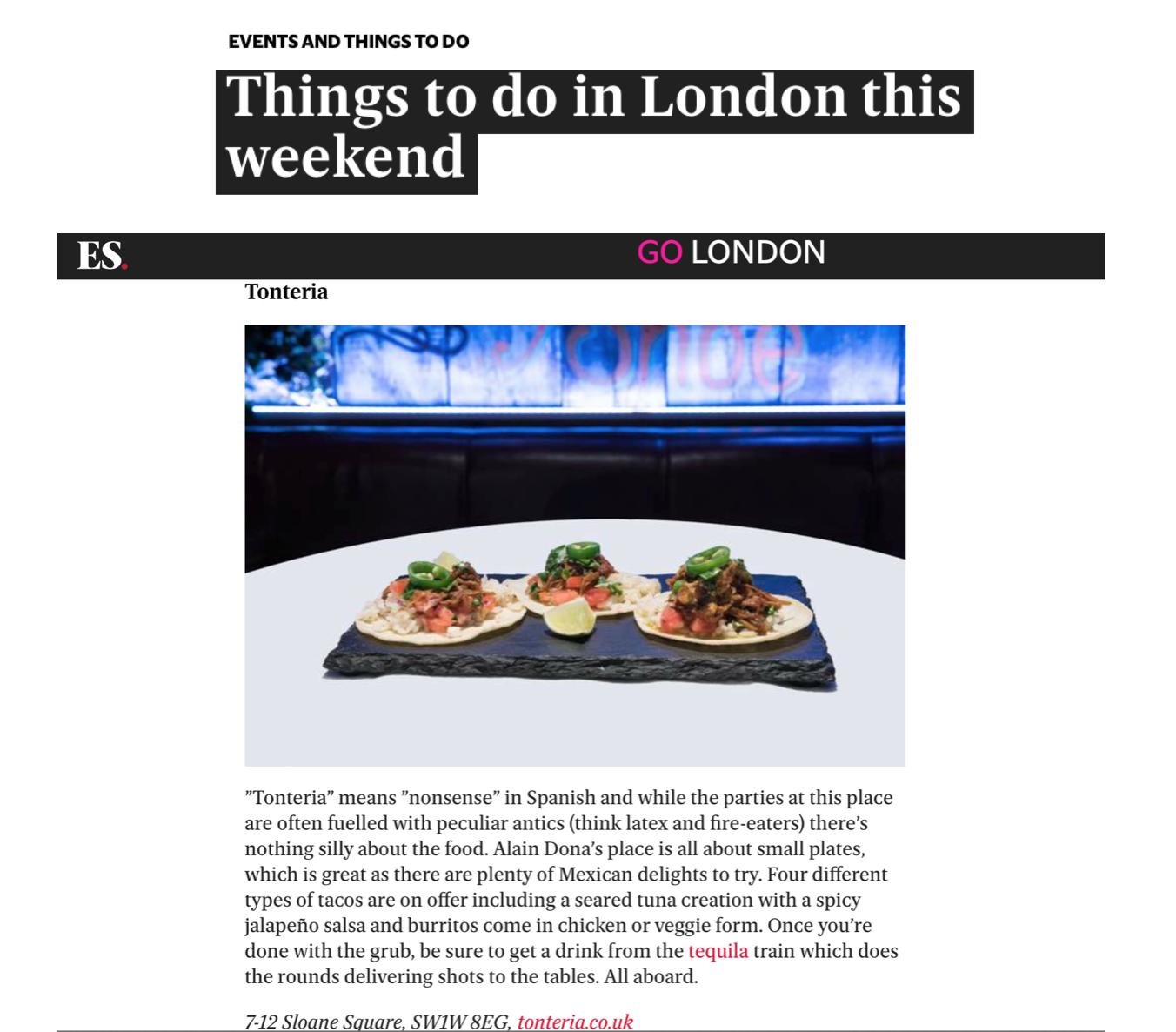 Evening Standard, 'Best Mexican Restaurant', November 2018