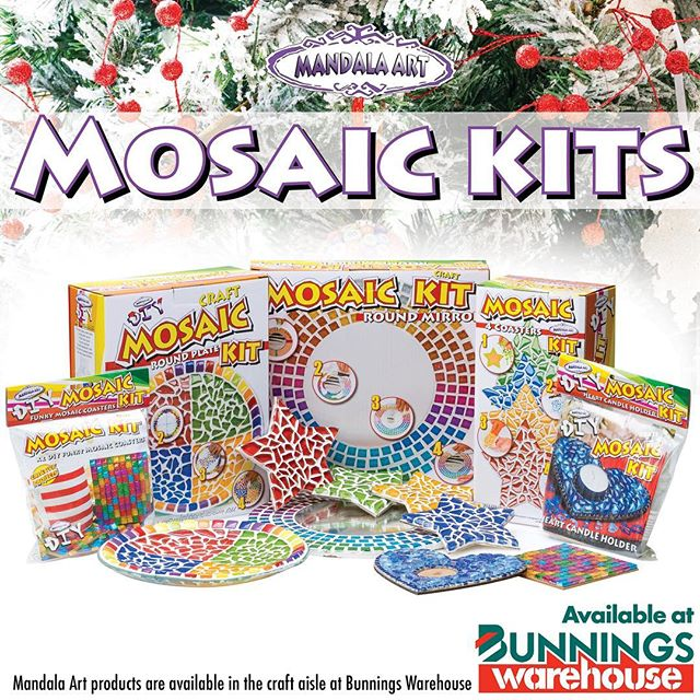 Looking for a special gift today to fill your Christmas stockings?? Get your hands on one of our special DIY mosaic kits designed right here at Mandala Art. Look for them in the craft aisle in all Bunnings warehouse stores.