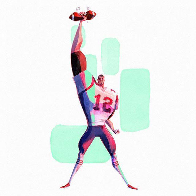Tom Brady for @madebyfern Super Bowl shout-out. Swipe for character design process! 🏈 💨 . . . . . . . . . . . . . . . #illustration #visualdevelopment #visdev #characterdesign #sbxliii #superbowl #patriots #tombrady #football #americanfootball #art #digitalart #nfl #atlanta #atl