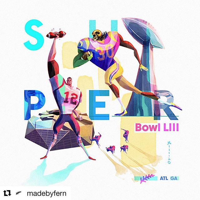 Everybody in ATL is talking about this thing called 'Super Bowl' 🤔 . #Repost @madebyfern with @get_repost ・・・ Super Bowl LIII is tomorrow, just down the road from our studio. Who's going to win? . . . #superbowl #nfl #larams #patriots #toddgurley #tombrady #football #nike #illustration #design #picame #art_spotlight #artofinstagram #instagram #atl #atlanta #fern #animation #motiondesign #studio @usnikefootball @mercedesbenzstadium @patriots @laramsnfl @nfl @cityofatlantaga @butter.atl