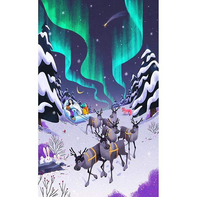 Holiday season is here! One day I hope I will be the kid wondering at auroras with delight. Huge thanks to my agency  @astoundusagency for pulling me off the insane end of the year schedule I have to create a magical illustration for holidays. Check out the rest of the beautiful work the other artist are creating for the occasion at their @astoundusagency 🌌 . . . . . . . . . . . . . . . #illustration #kidlitart #kidlit #childrensbooks #nature #northernlights #auroraborealis #childrenillustration #art #digitalart #snowqueen #reindeer #animals #holidayseason #winter #kids #sky