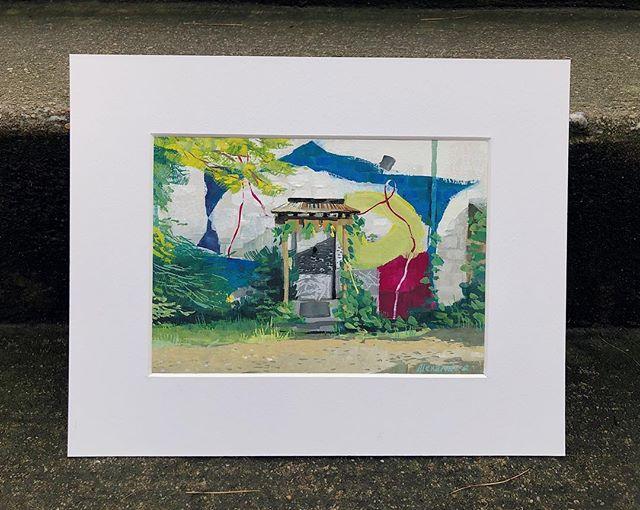 An ode to the Goar Farm studio in honor of @madebyfern's new home 🌿 . . . . . . . . . . . . . . #gouache #landscape #art #painting #atlanta #atl #thegoatfarmatlanta #goatfarmartscenter #illustration #door #mural #fern #plant