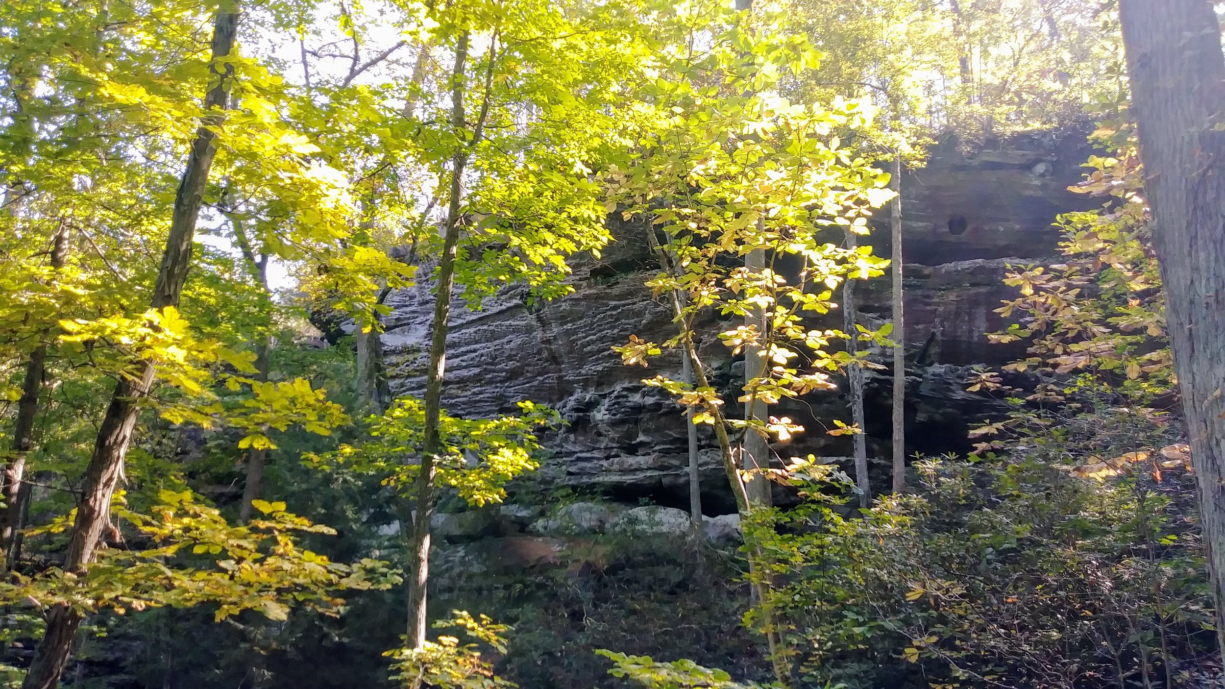 A rock outcropping on the initial descent on the Double Arch Trail.
