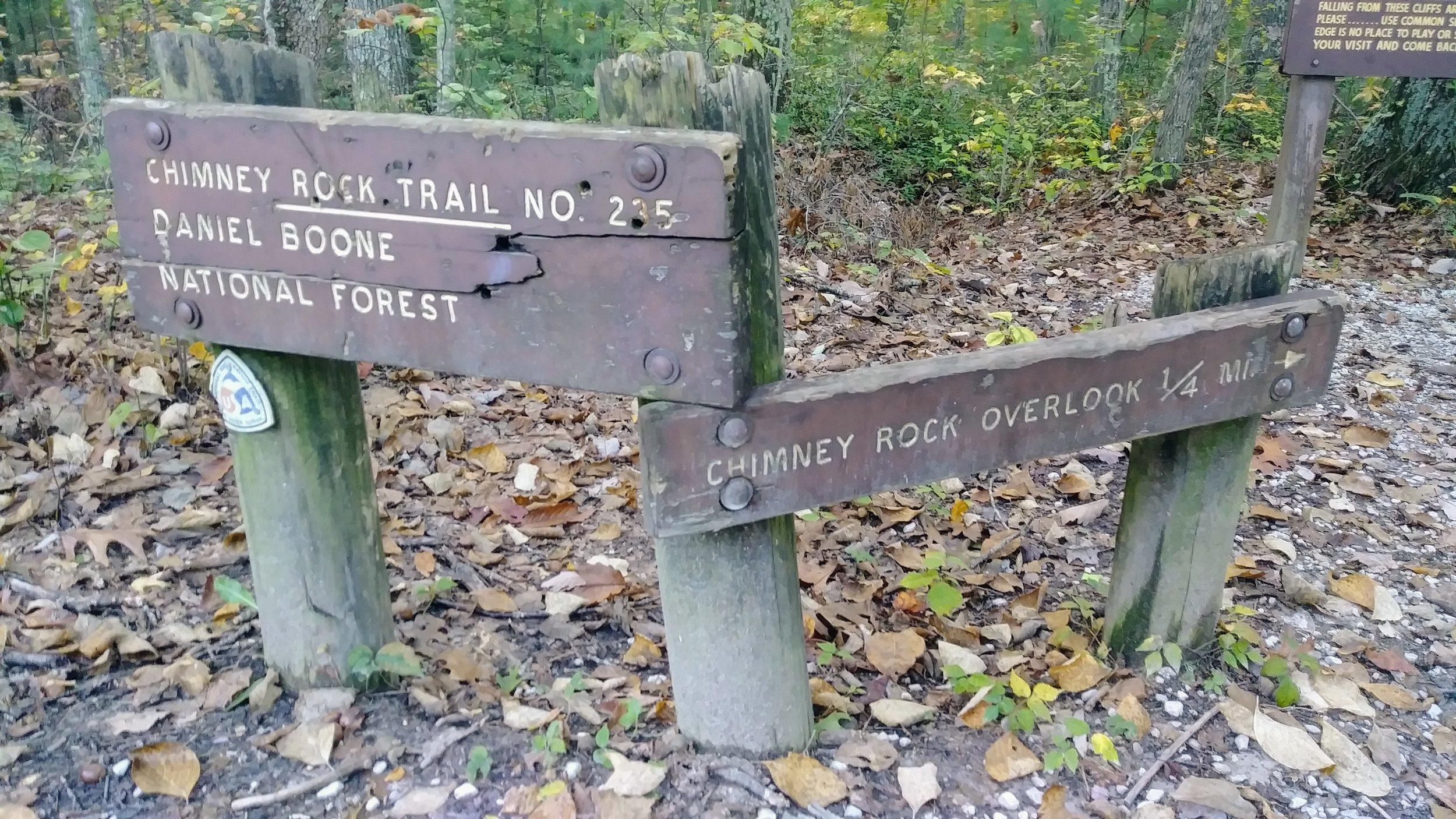 Signs at Chimney Rock Trailhead.