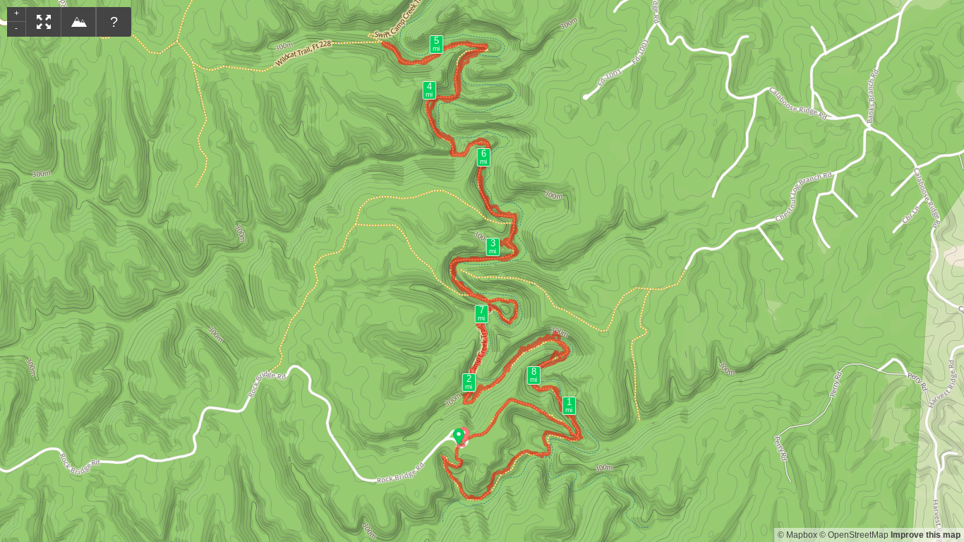 Map of Rock Bridge Arch and Swift Camp Creek hike (reverse lollipop)