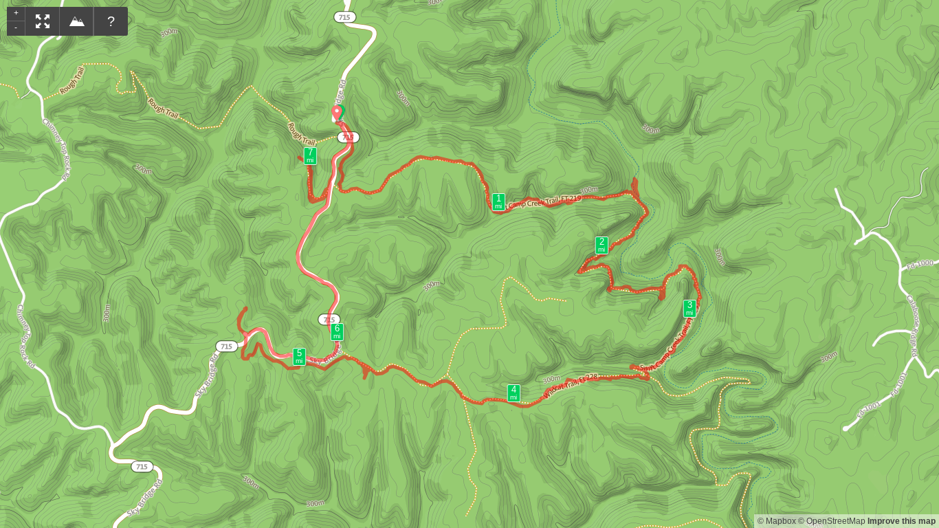 Map of Swift Camp Creek, Wildcat, and Angel Windows Loop