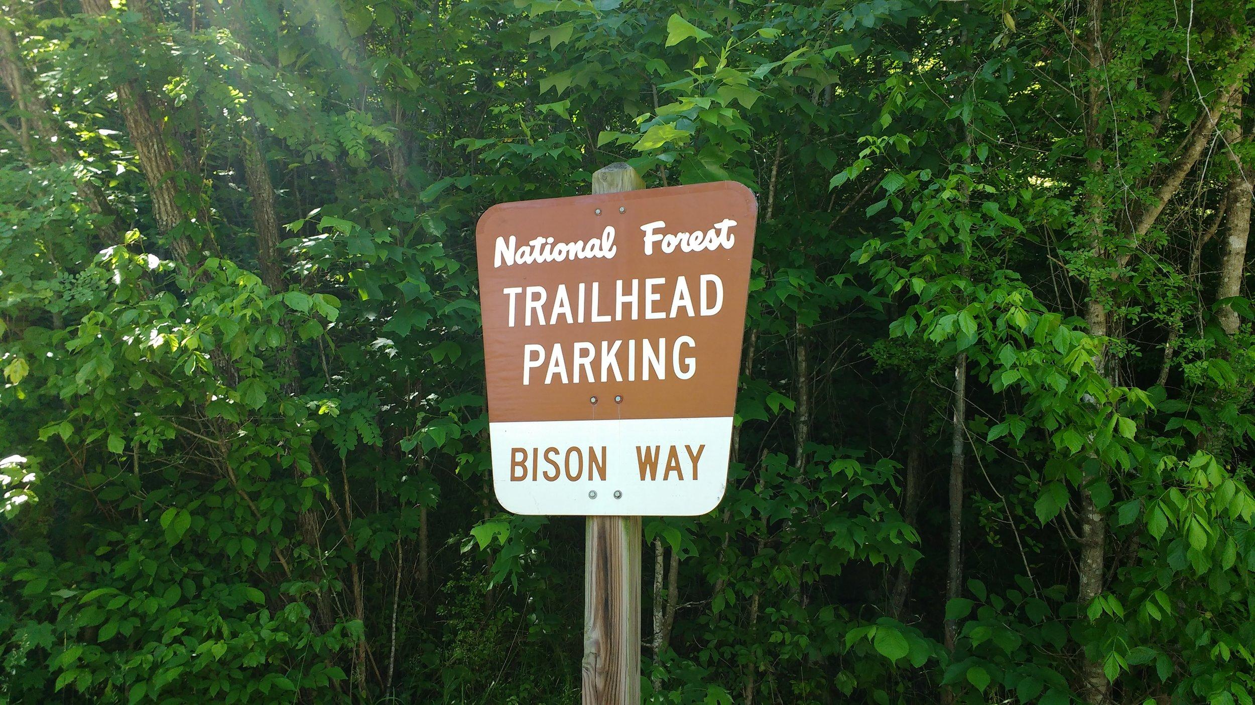 Bison Way Trailhead parking sign