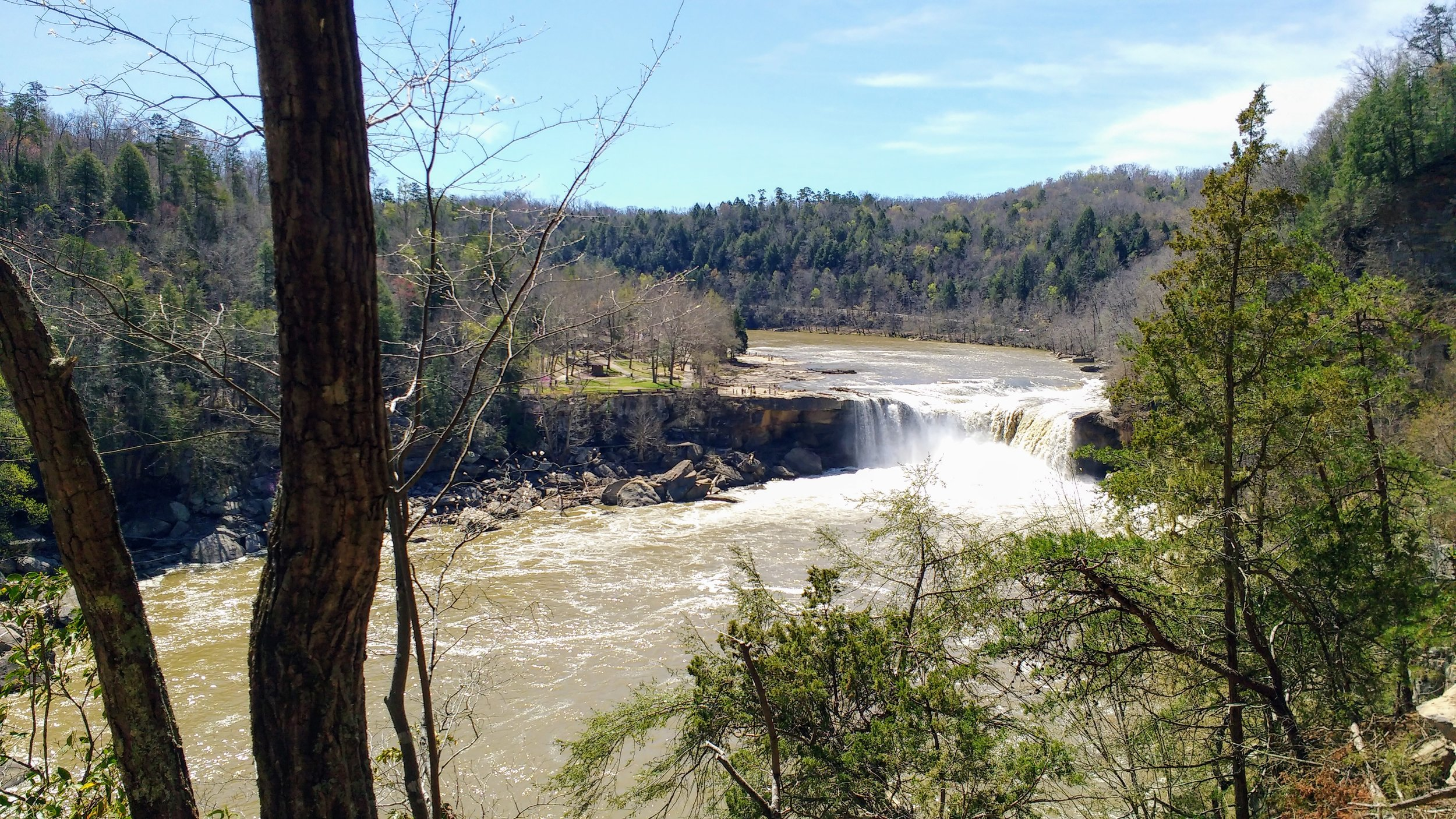 Looking out to Cumberland Falls from Eagle Falls Trail