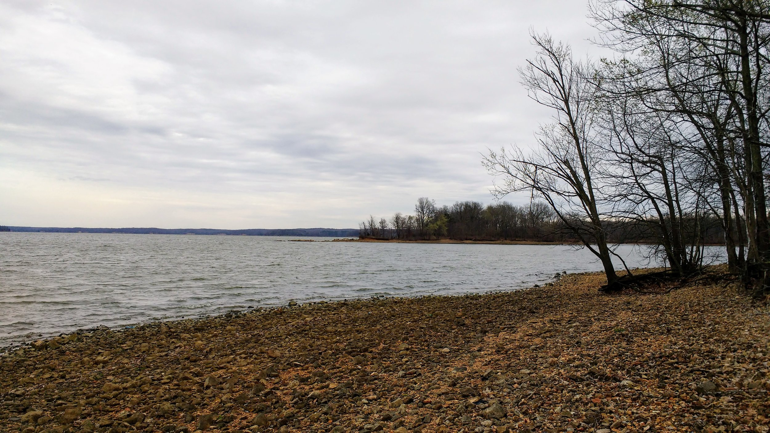 The rocky shoreline at Land Between the Lakes