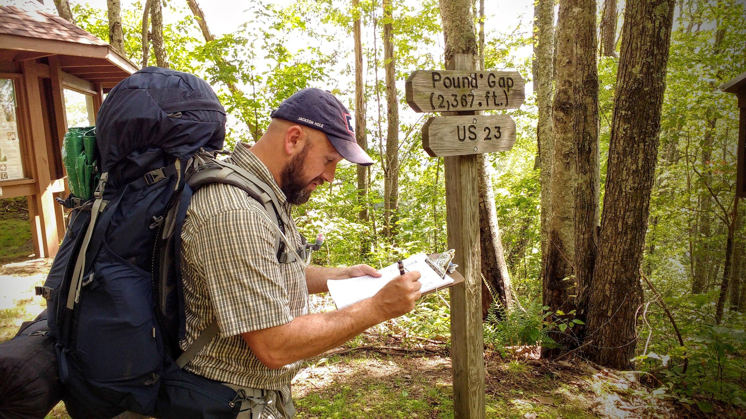 Bork signing in at Pound Gap on Pine Mountain Trail